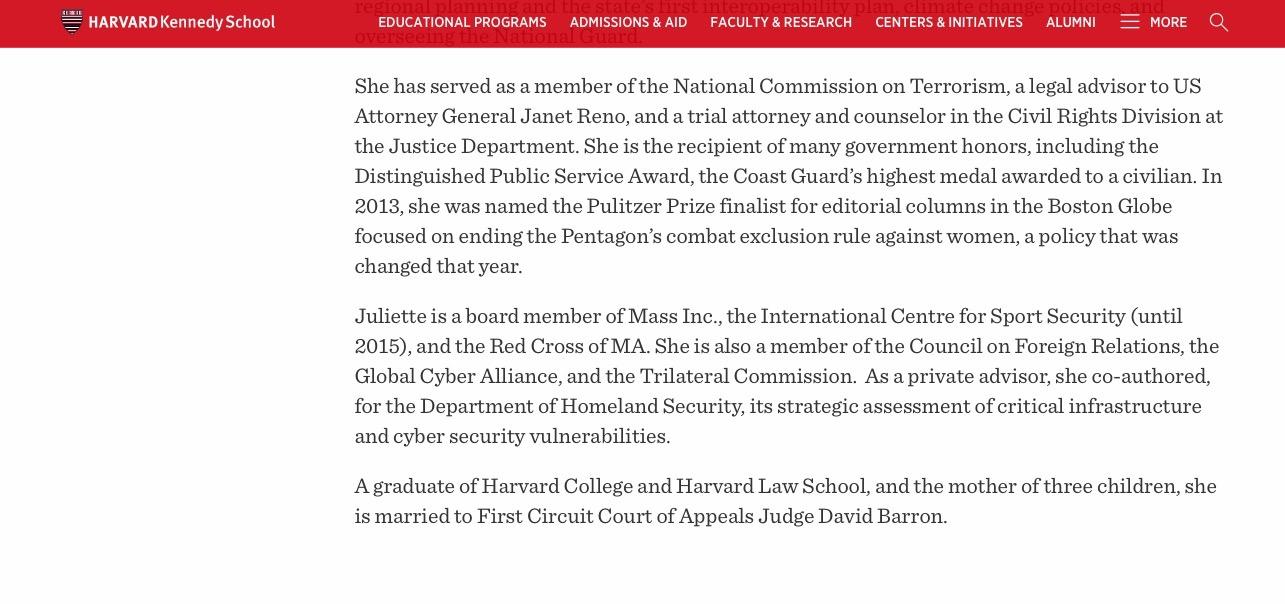 Harvard University Faculty Page, Juliette Kayyem (Screenshot, HKS.Harvard.edu)