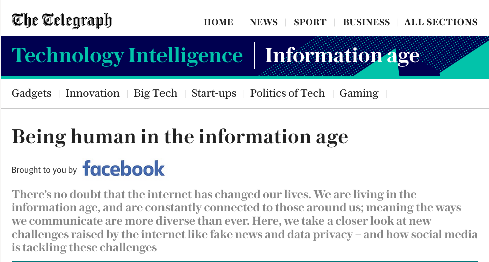 Facebook hires The Daily Telegraph to write positive articles in efforts to ward of media criticism.