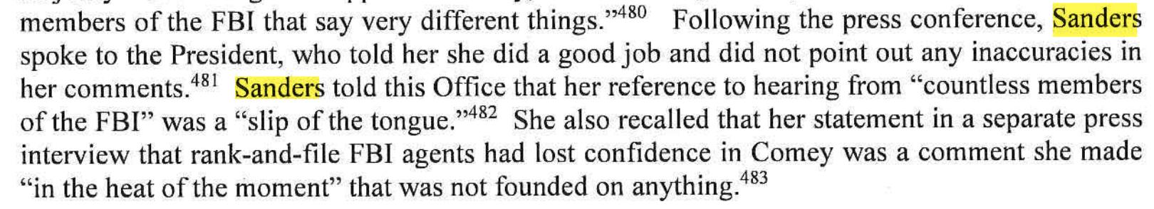 Excerpt of the Mueller report regarding White House press secretary Sarah Sanders' statements about former FBI Director James Comey.