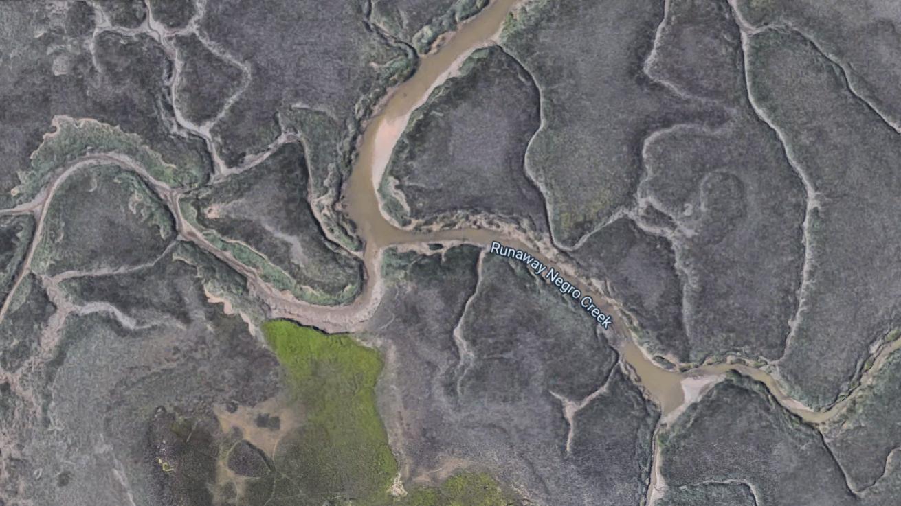 Google Maps Satellite View Of Freedom Creek. Screenshot. (Google Maps)
