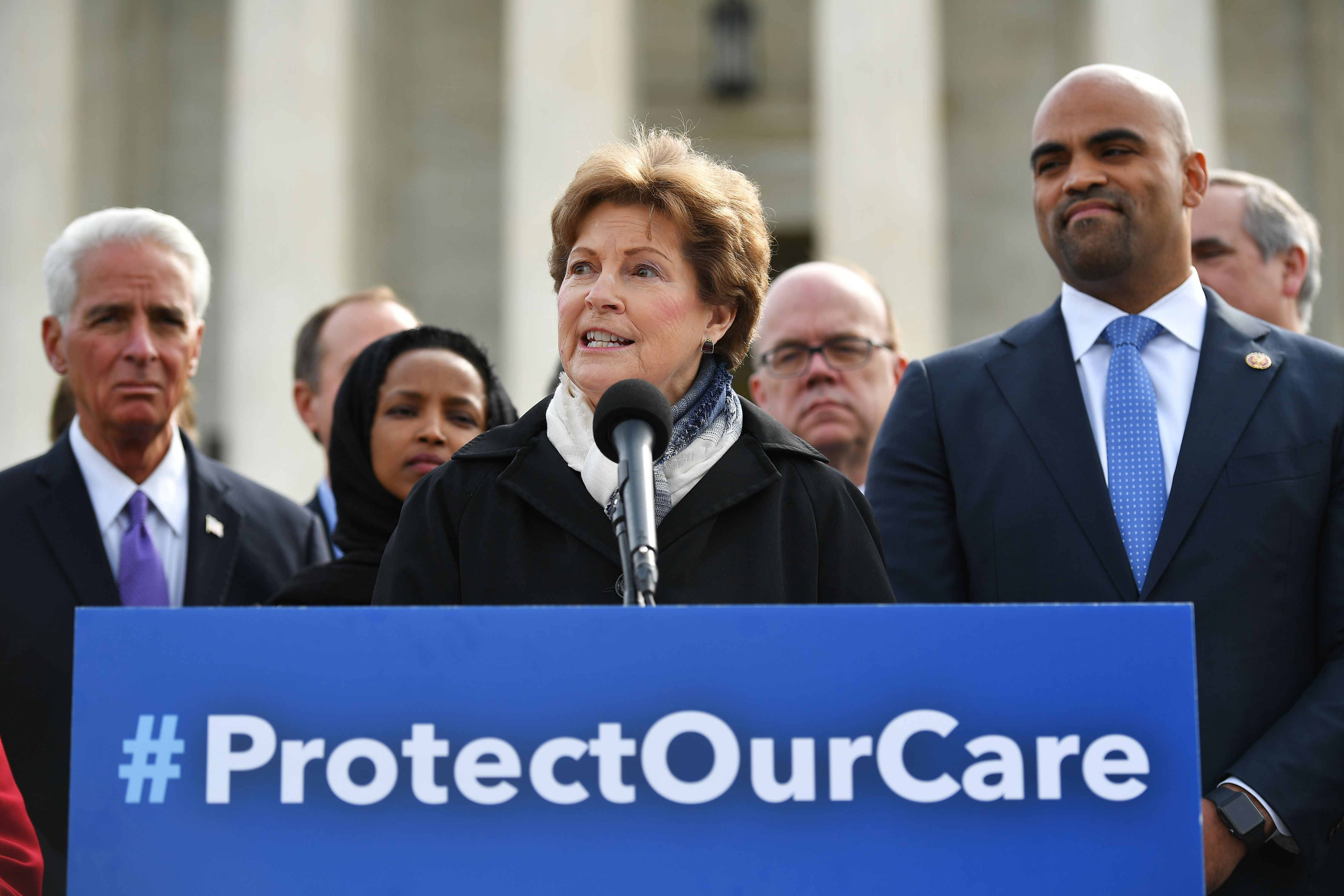 Senator Jeanne Shaheen, D-NH, speaks during an event to call for the protection affordable healthcare for those with preexisting conditions during a press conference on April 2, 2019. (Mandel Ngan/AFP/Getty Images)