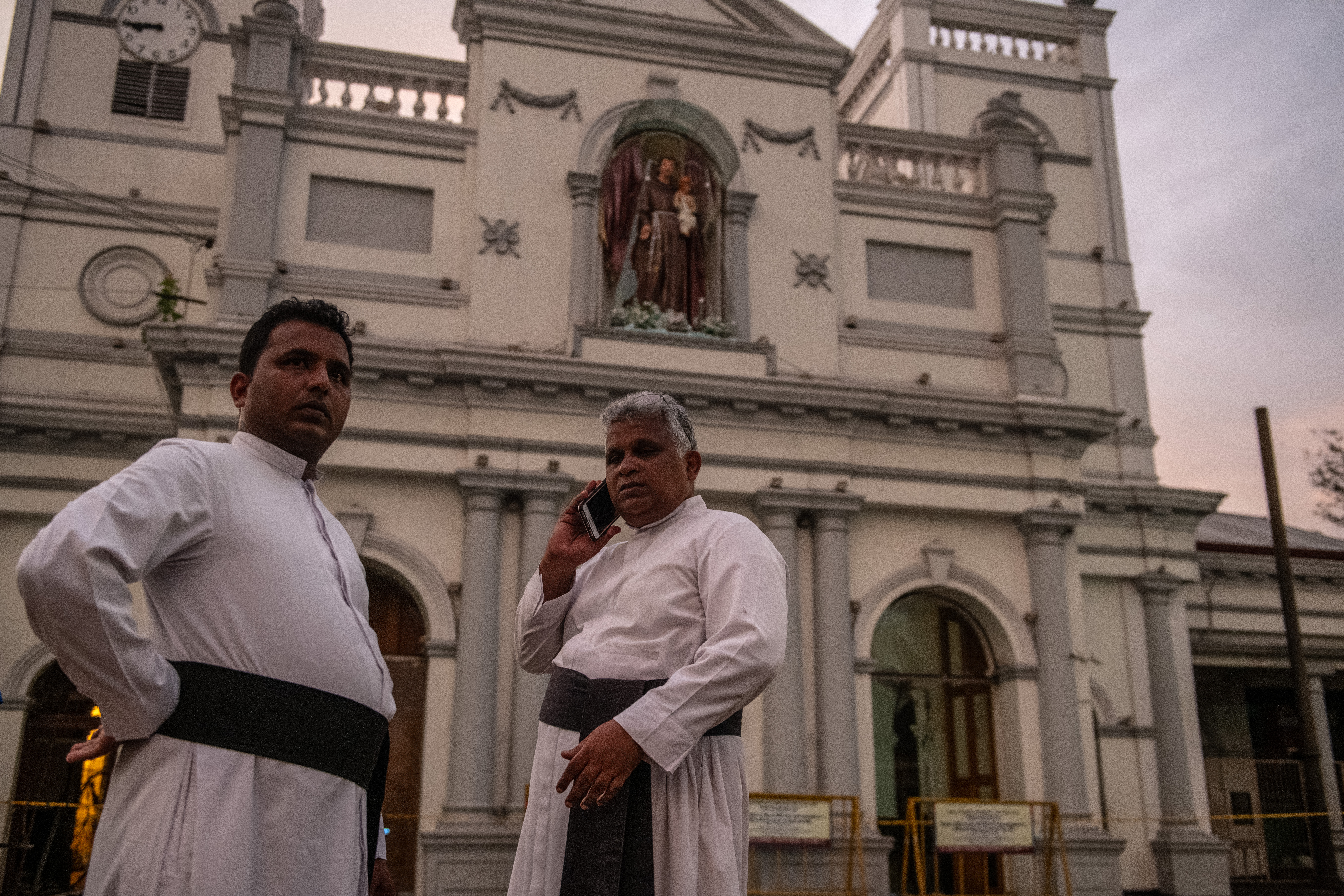 COLOMBO, SRI LANKA - APRIL 26: Priests stand outside St Anthony's Shrine on April 26, 2019 in Colombo, Sri Lanka. (Photo by Carl Court/Getty Images)