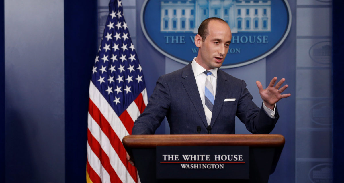 White House senior policy advisor Stephen Miller (R) joins Press Secretary Sarah Huckabee Sanders to discuss U.S. immigration policy at the daily briefing at the White House in Washington, U.S. August 2, 2017. REUTERS/Jonathan Ernst