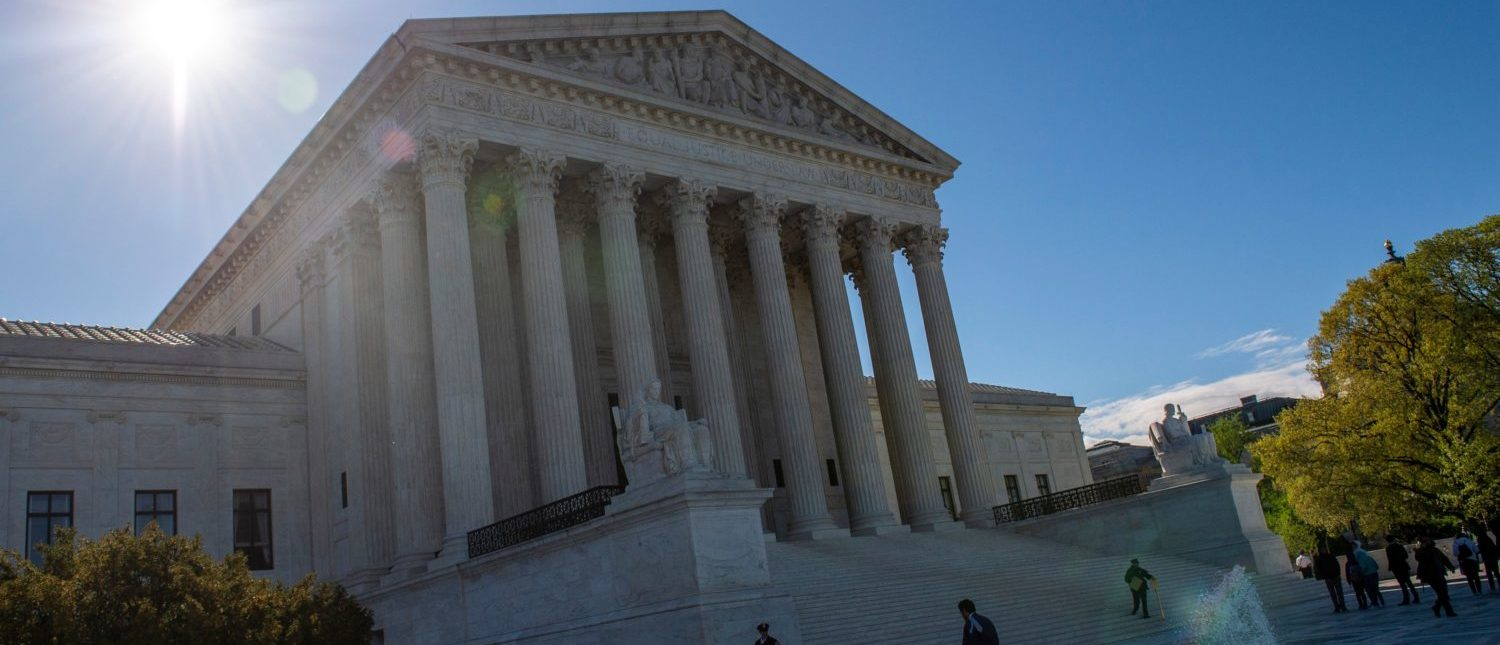 "The United states Supreme Court is seen on April 15, 2019 in Washington DC. - The US Supreme Court takes up Monday the government's refusal to register a trademark by a clothing line named ""Fuct,"" and arguments should be, well, salty. The case pits a provision of US trademark law that allows the government to deny requests on the basis of ""immoral"" or ""scandalous"" words against the bedrock principles of free speech enshrined in the Constitution. It all started with provocateur, artist and designer Erik Brunetti, who founded the streetwear brand in 1990. It rhymes with plucked.Under the label, he has since freely sold clothing with anti-religious, anti-government slogans and motifs, often parodying pop culture. (Photo by Eric BARADAT / AFP) (Photo credit should read ERIC BARADAT/AFP/Getty Images)"