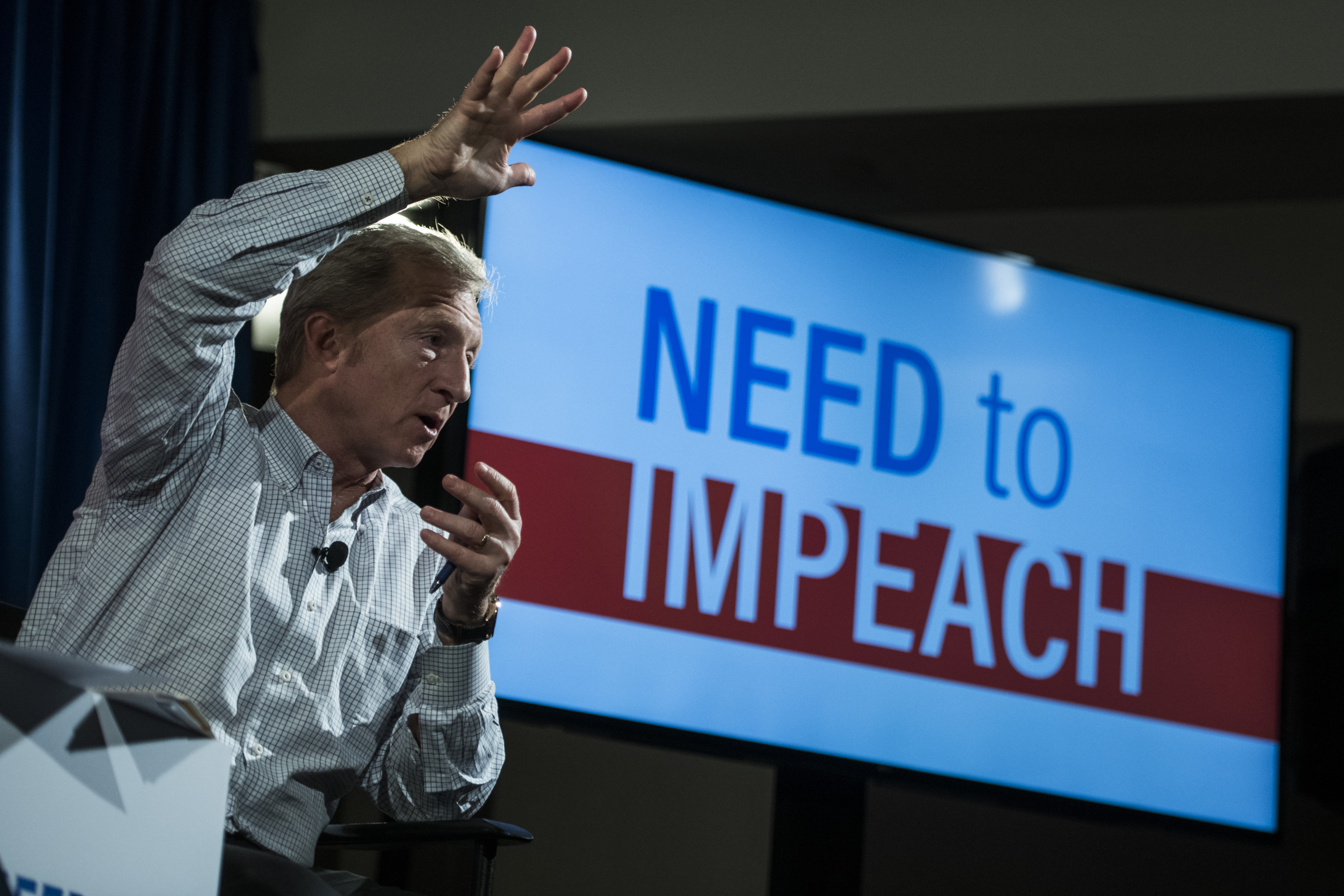 US environmental activist and Democrat Tom Steyer speaks during a Town Hall meeting In the Need to Impeach President Donald Trump in New York on January 29, 2018. (Photo by JEWEL SAMAD/AFP/Getty Images)