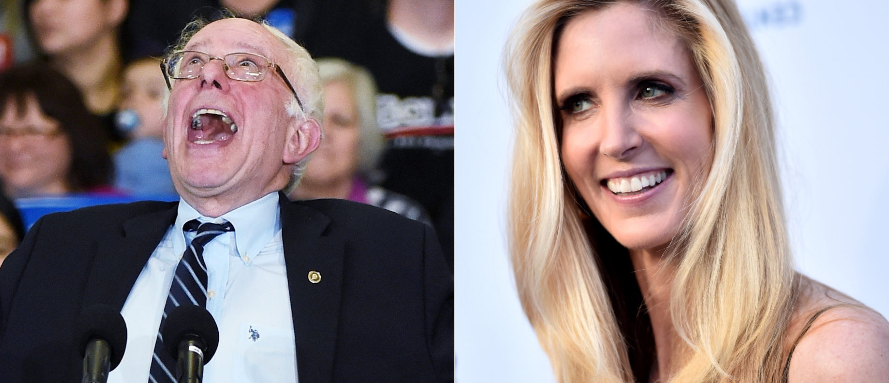 Ann Coulter and Bernie Sanders side-by-side/ Getty Images collage