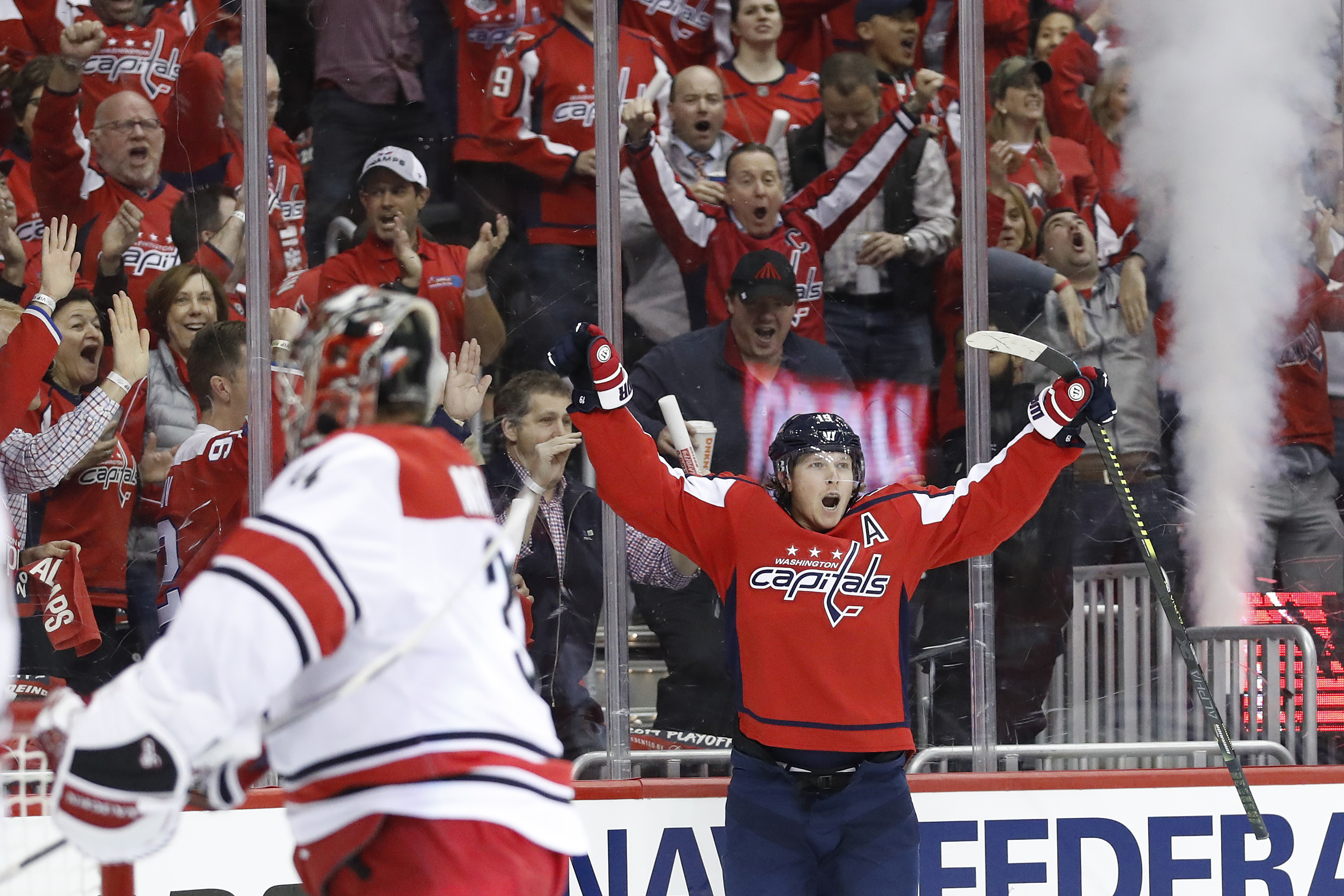 Apr 11, 2019; Washington, DC, USA; Washington Capitals center Nicklas Backstrom (19) celebrates after scoring a goal against the Carolina Hurricanes in the first period in game one of the first round of the 2019 Stanley Cup Playoffs at Capital One Arena. Geoff Burke-USA TODAY Sports