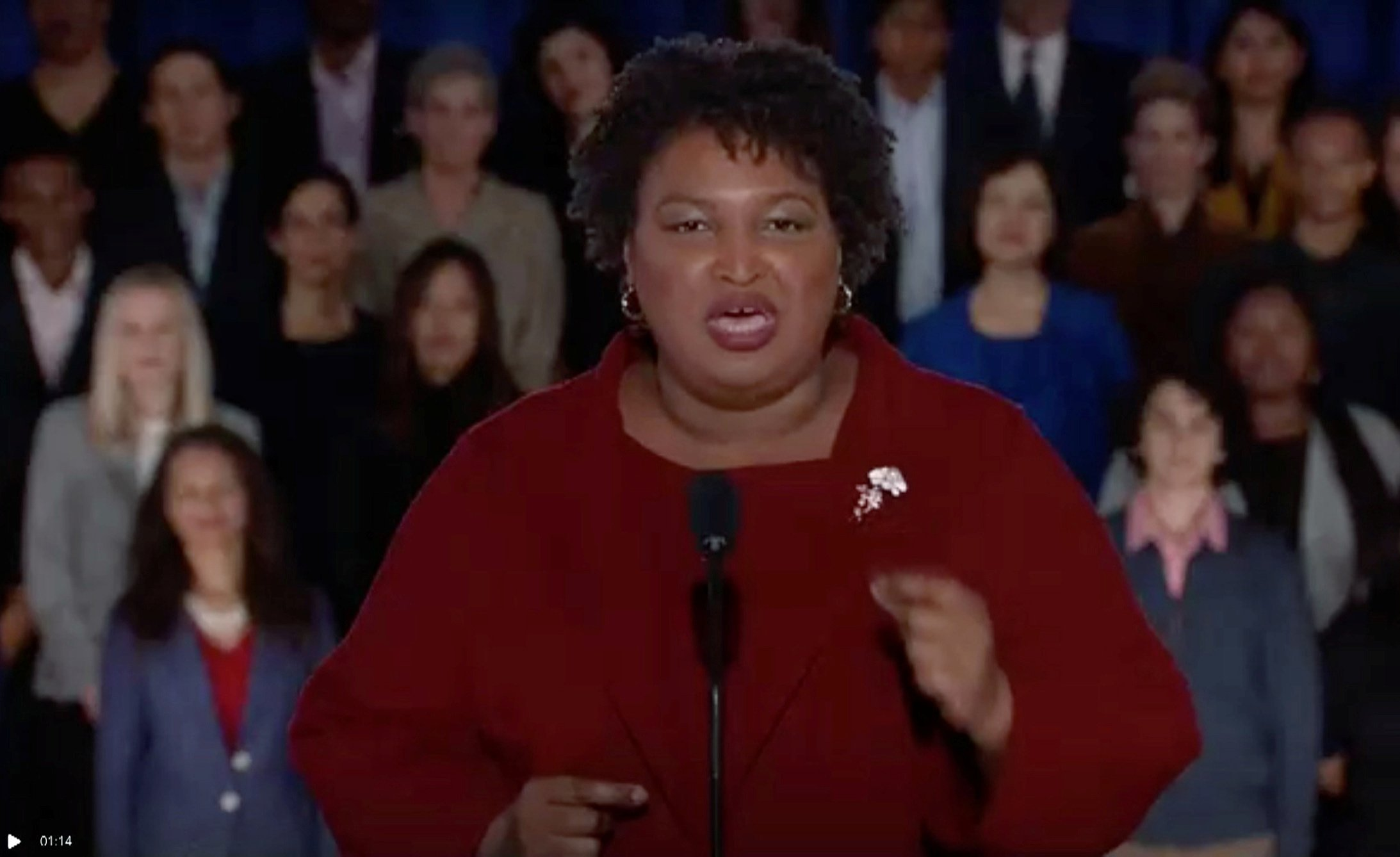 Former Georgia gubernatorial candidate Stacey Abrams delivers the Democratic response to the U.S. President Donald Trump's State of the Union address in this still frame taken from video, in Washington, U.S., February 5, 2019. REUTERS/Reuters TV