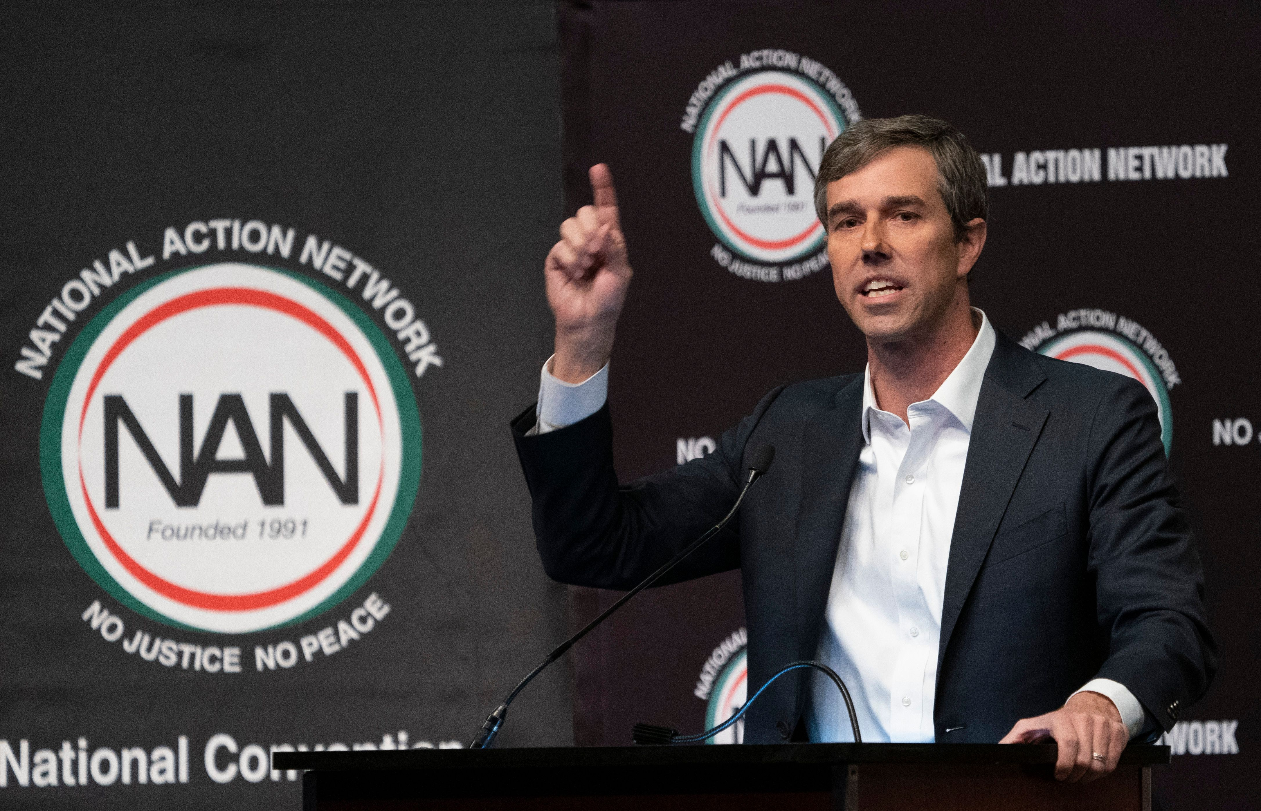 Presidential candidate Beto O'Rourke speaks during a gathering of the National Action Network. (Don Emmert/AFP/Getty Images)