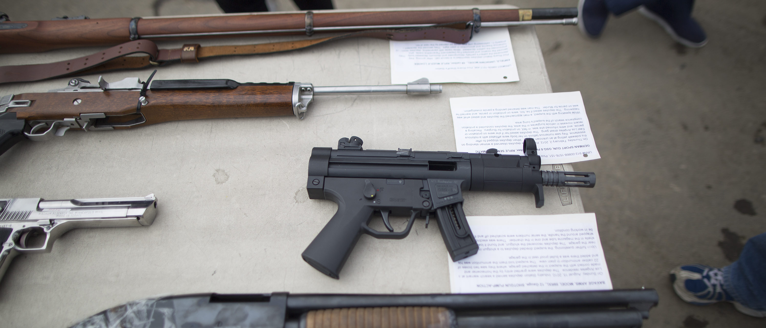 RANCHO CUCAMONGA, CA - JUNE 26: Confiscated guns are displayed prior to the destruction of approximately 3,400 guns and other weapons at the Los Angeles County Sheriffs' 22nd annual gun melt at Gerdau Steel Mill on July 6, 2015 in Rancho Cucamonga, California. The weapons, confiscated in various law enforcement operations, will be recycled in the form of steel rebar to be used in construction. California law requires the destruction of the confiscated weapons. (Photo by David McNew/Getty Images)