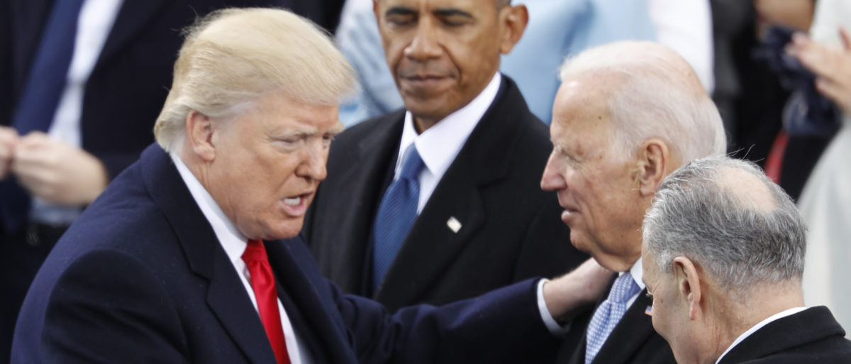 Donald Trump greets Sen. Chuck Schumer and former Vice President Joe Biden as former U.S. President Barack Obama looks on after inauguration ceremonies swearing in Donald Trump as the 45th president of the United States on the West front of the U.S. Capitol in Washington, U.S., January 20, 2017. [REUTERS/Lucy Nicholson]