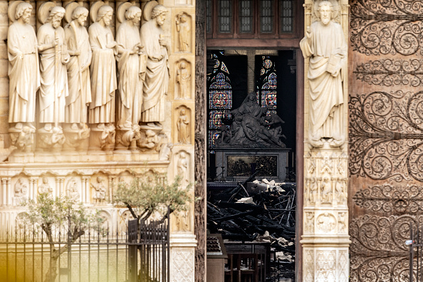 PARIS, FRANCE - APRIL 16: The interior of the Notre-Dame Cathedral is seen through a doorway following a major fire yesterday on April 16, 2019 in Paris, France. (Photo by Dan Kitwood/Getty Images)