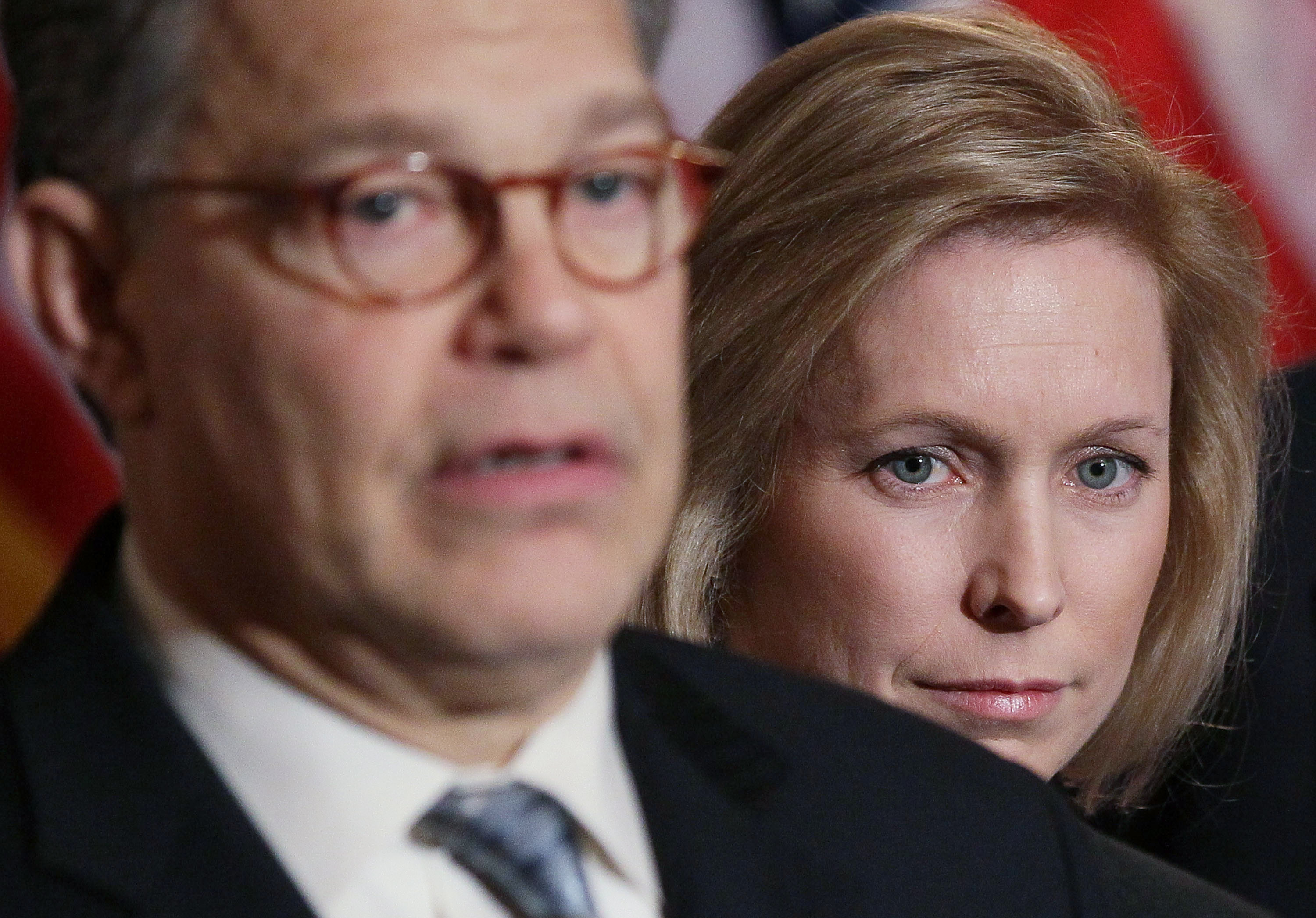 U.S. Sen. Kristen Gillibrand (D-NY) (R), and U.S. Sen. Al Franken (D-MN), participatie in a news conference to discuss women's health issues at the U.S. Capitol on February 8, 2011 in Washington, DC. (Photo by Mark Wilson/Getty Images)