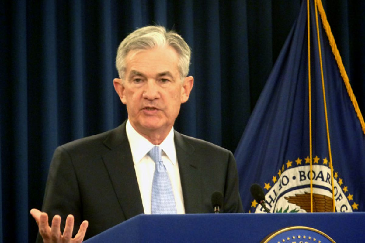Federal Reserve Chairman Jerome Powell speaks during a press conference in Washington on March 20, 2019. (Photo by Kyodo News via Getty Images)