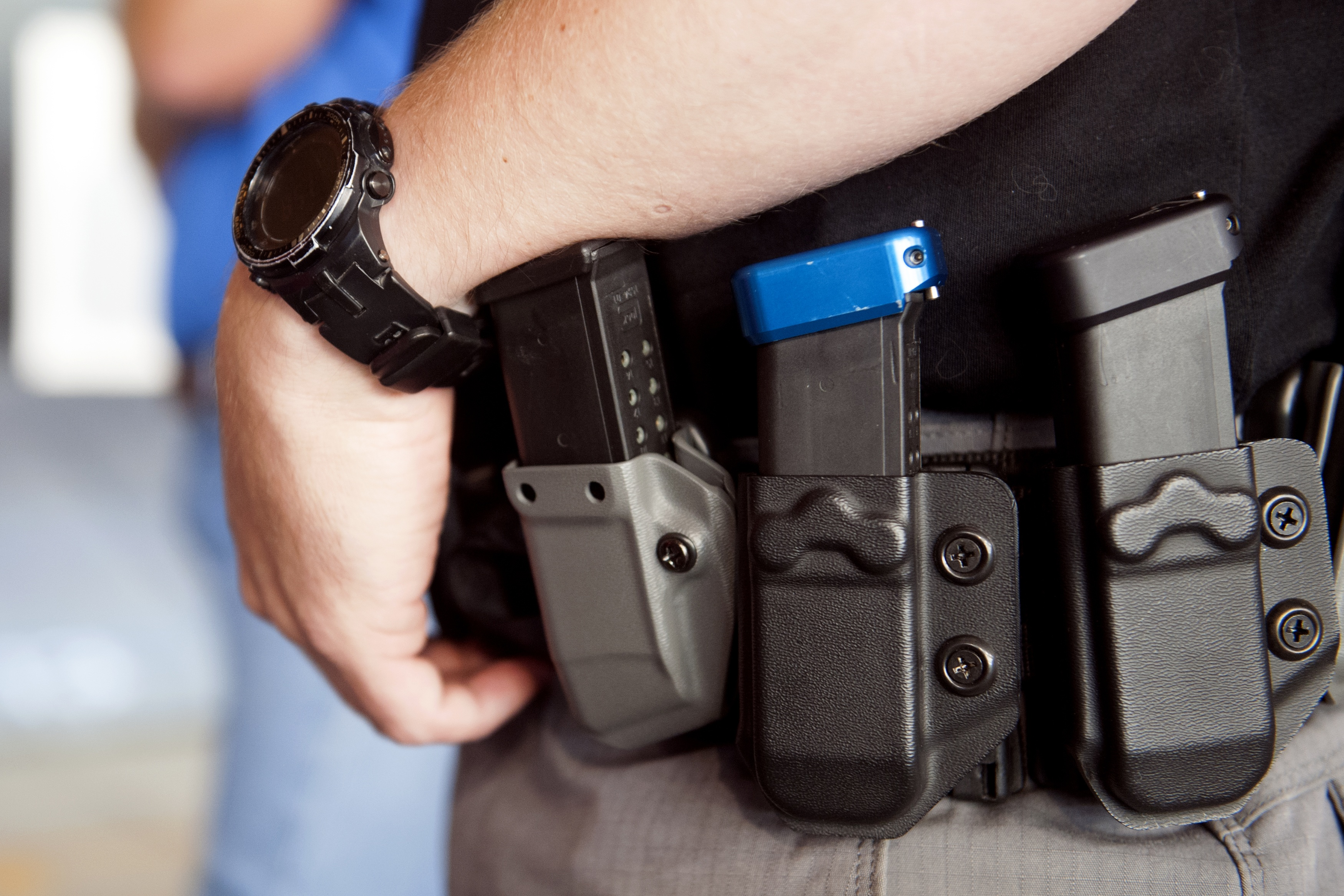 Magazine clips line the holster of a trainee during a three-day firearms course offered to school teachers and administrators by FASTER Colorado at Flatrock Training Center in Commerce City, Colorado on June 26, 2018. (Photo by JASON CONNOLLY/AFP/Getty Images)