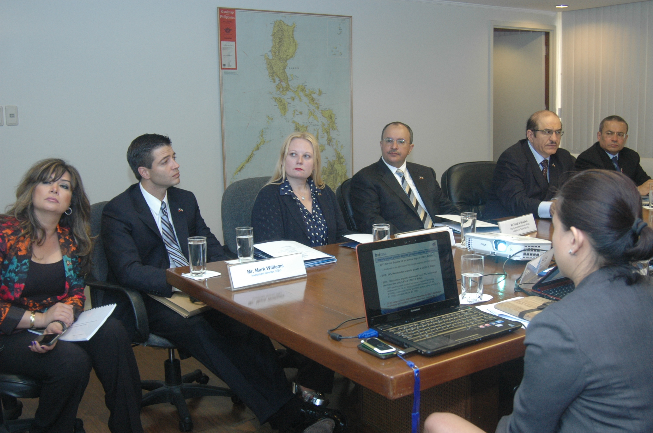 Marsha Lazareva (third from left) attends a meeting related to the naming of the Global Gateway Logistics City in honor of the Amir of Kuwait in March 2012. Courtesty of KGL Investment