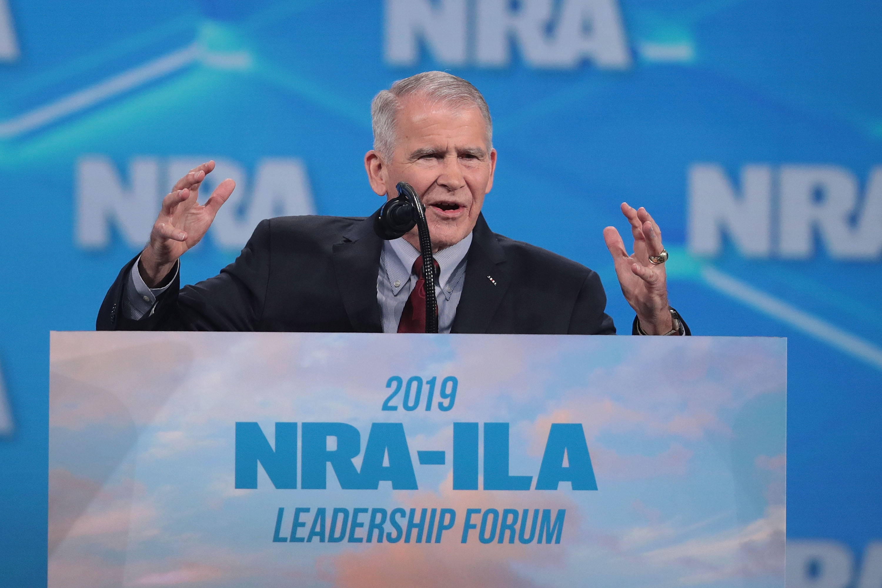 INDIANAPOLIS, INDIANA - APRIL 26: NRA President Oliver North speaks at the NRA-ILA Leadership Forum at the 148th NRA Annual Meetings & Exhibits on April 26, 2019 in Indianapolis, Indiana. The convention, which runs through Sunday, features more than 800 exhibitors and is expected to draw 80,000 guests. (Photo by Scott Olson/Getty Images)