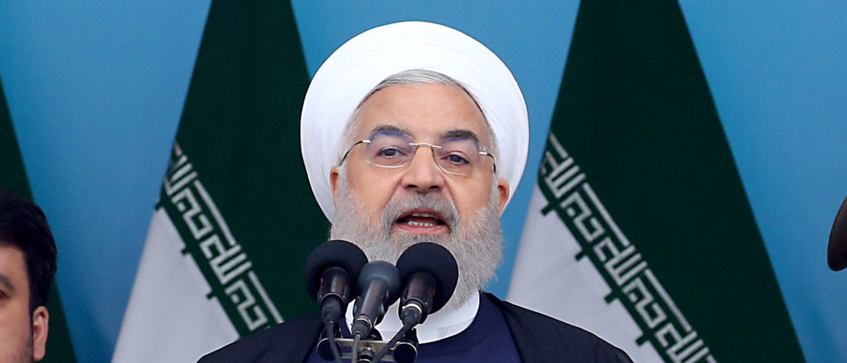Iranian President Hassan Rouhani speaks during a ceremony marking the country's annual army day in Tehran, on April 18, 2019. (/AFP/Getty Images)