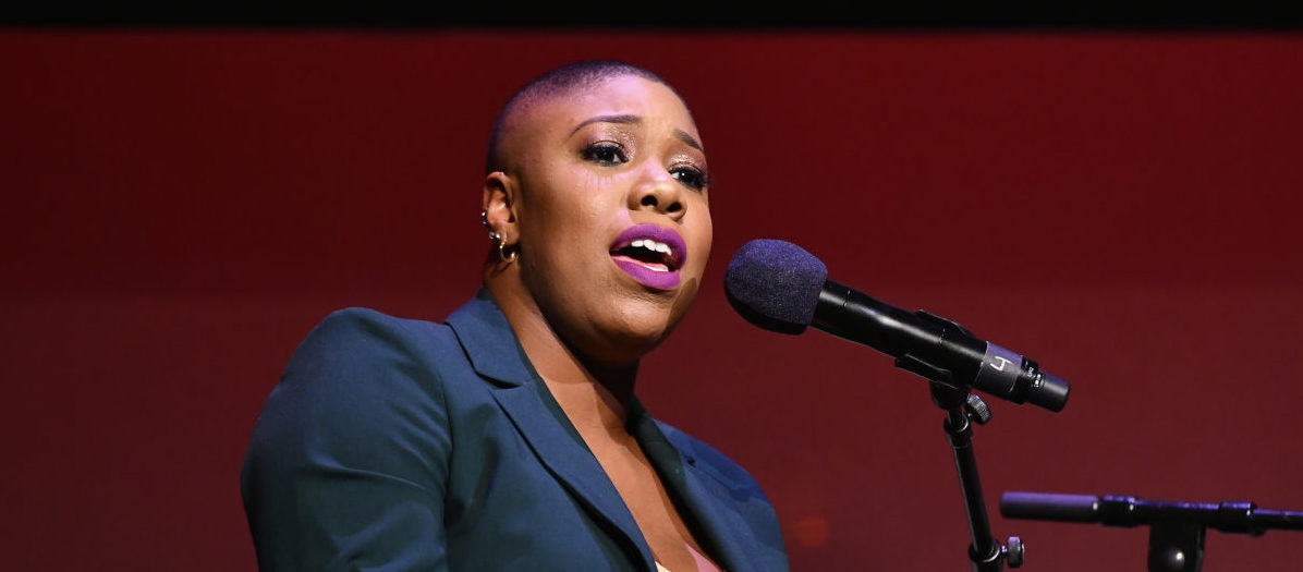 Symone Sanders speaks onstage during Global Citizen Week: At What Cost? at The Apollo Theater on September 23, 2018 in New York City. Noam Galai/Getty Images for Global Citizen