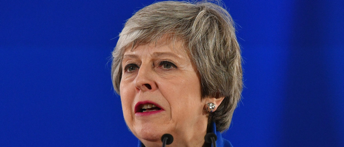 British Prime Minister Theresa May speaks at a news conference at the European Union Council headquarters April 11, 2019 in Brussels, Belgium. (Photo by Leon Neal/Getty Images)