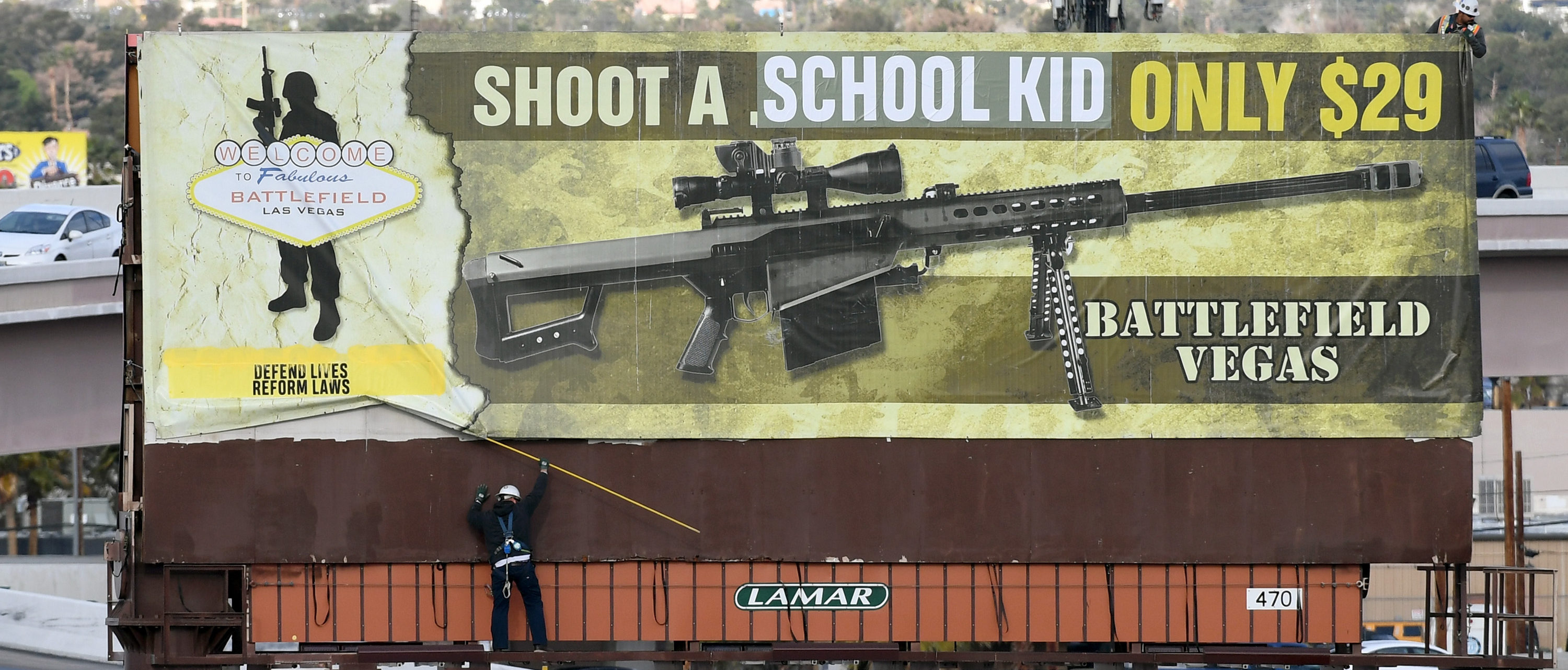 A Billboard with an anti-gun message March 1, 2018 in Las Vegas, Nevada. (Photo by Ethan Miller/Getty Images)