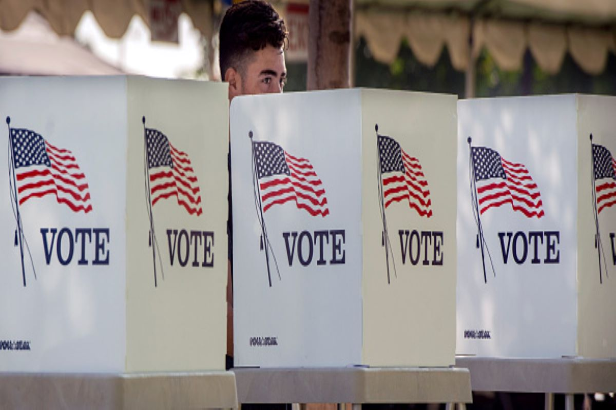 Students take part in the Power California early voting event in Norwalk in on Wednesday, October 24, 2018. (Photo by Mindy Schauer/Digital First Media/Orange County Register via Getty Images)