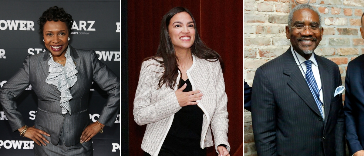 Left to right: Yvette Clarke, Alexandria Ocasio-Cortez and Gregory Meeks. Tasos Katopodis/Getty Images for Starz, Lars Niki/Getty Images for The Athena Film Festival and Brian Ach/Getty Images for The New Yorker