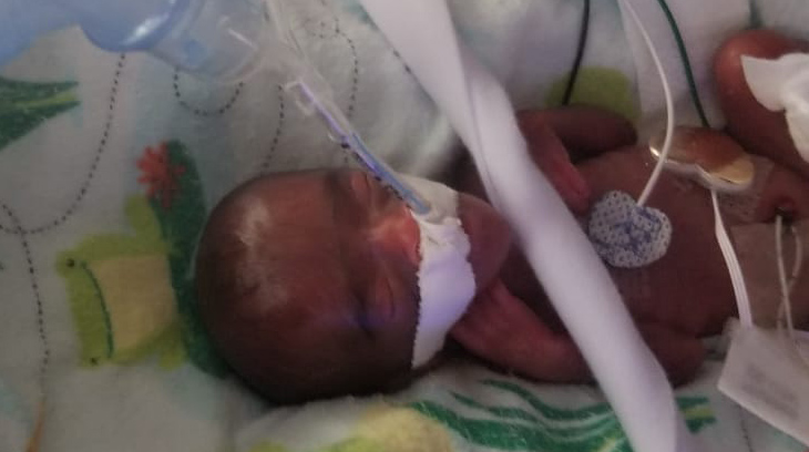 Baby Saybie is shown hours after her delivery in December 2018. Courtesy of Sharp HealthCare