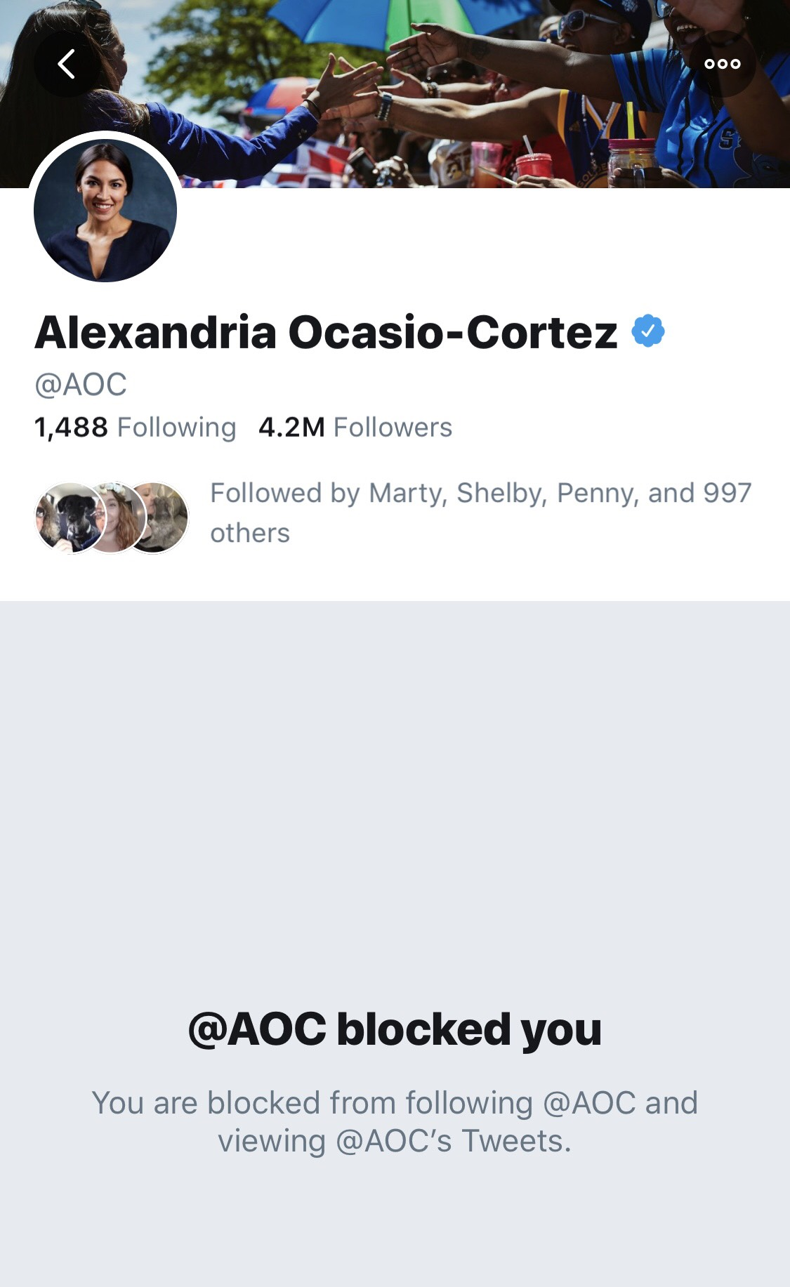 Democratic New York Rep. Alexandria Ocasio-Cortez blocked The Daily Caller on Twitter (Screenshot taken 5/29/2019)