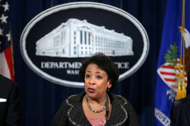 U.S. Attorney General Loretta Lynch holds a news conference in Washington. U.S., January 11, 2017. REUTERS/Carlos Barria