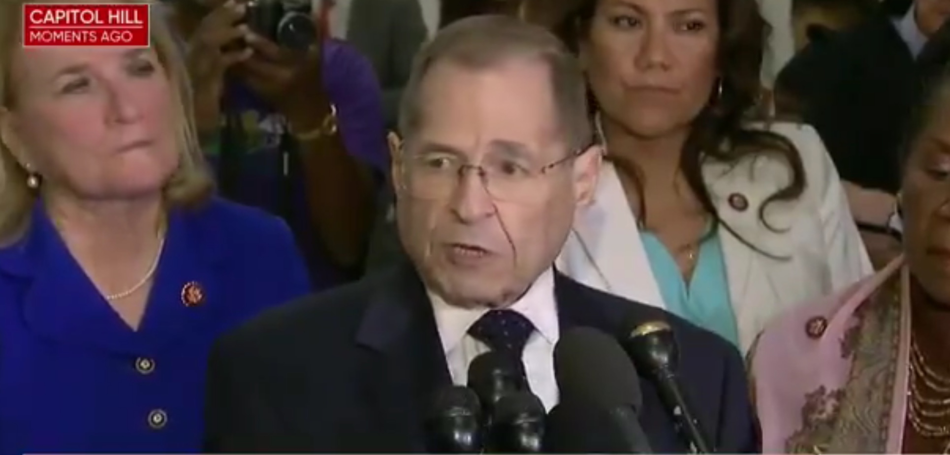 "House Judiciary Chairman Jerry Nadler (D-NY) speaks to reporters about a ""constitutional crisis,"" May 8, 2019. CBS News screenshot, via Twitter."