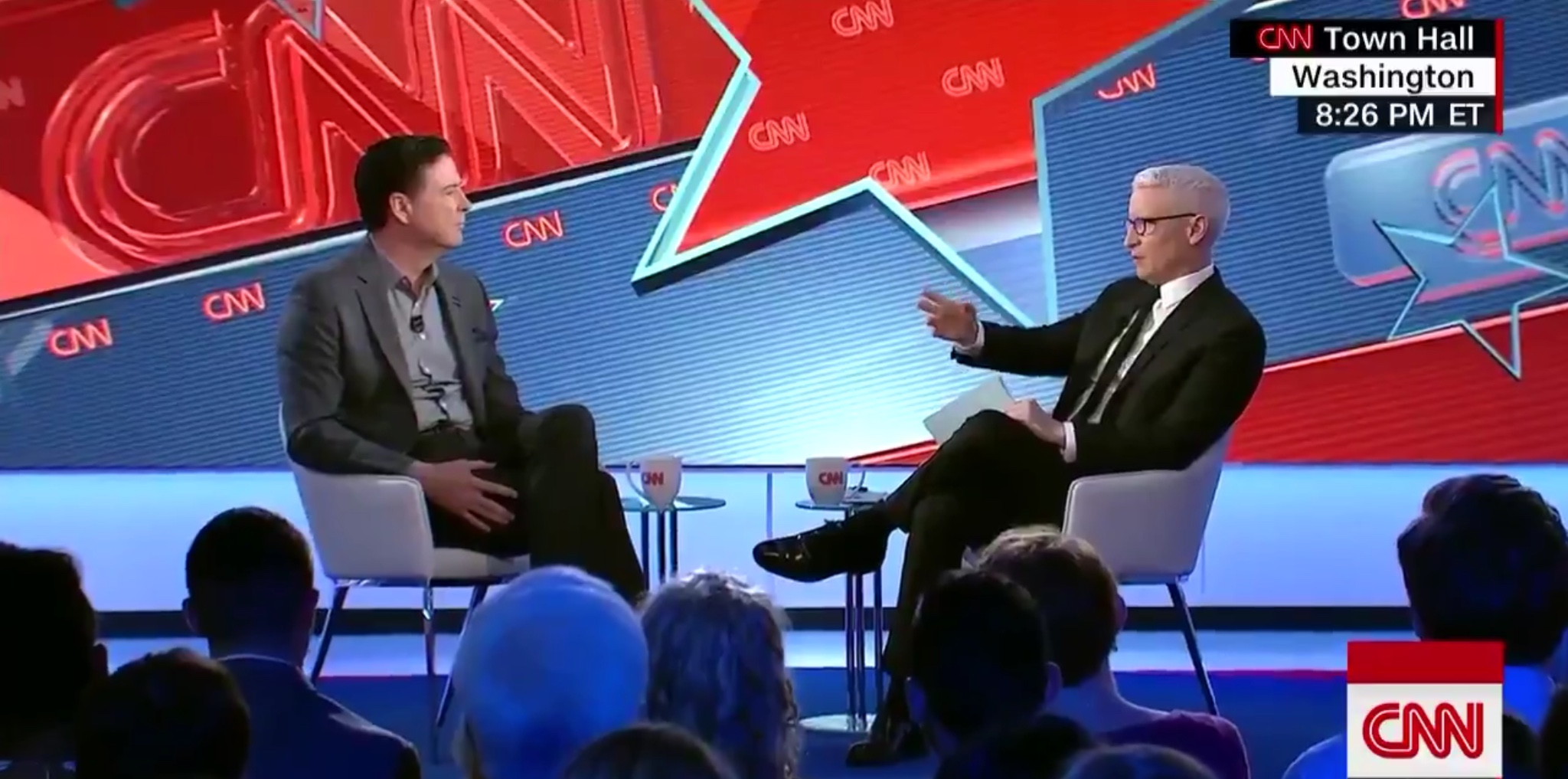 Former FBI Director James Comey defends the discredited Steele dossier at a CNN town hall segment, May 9, 2019. CNN screenshot via Twitter.