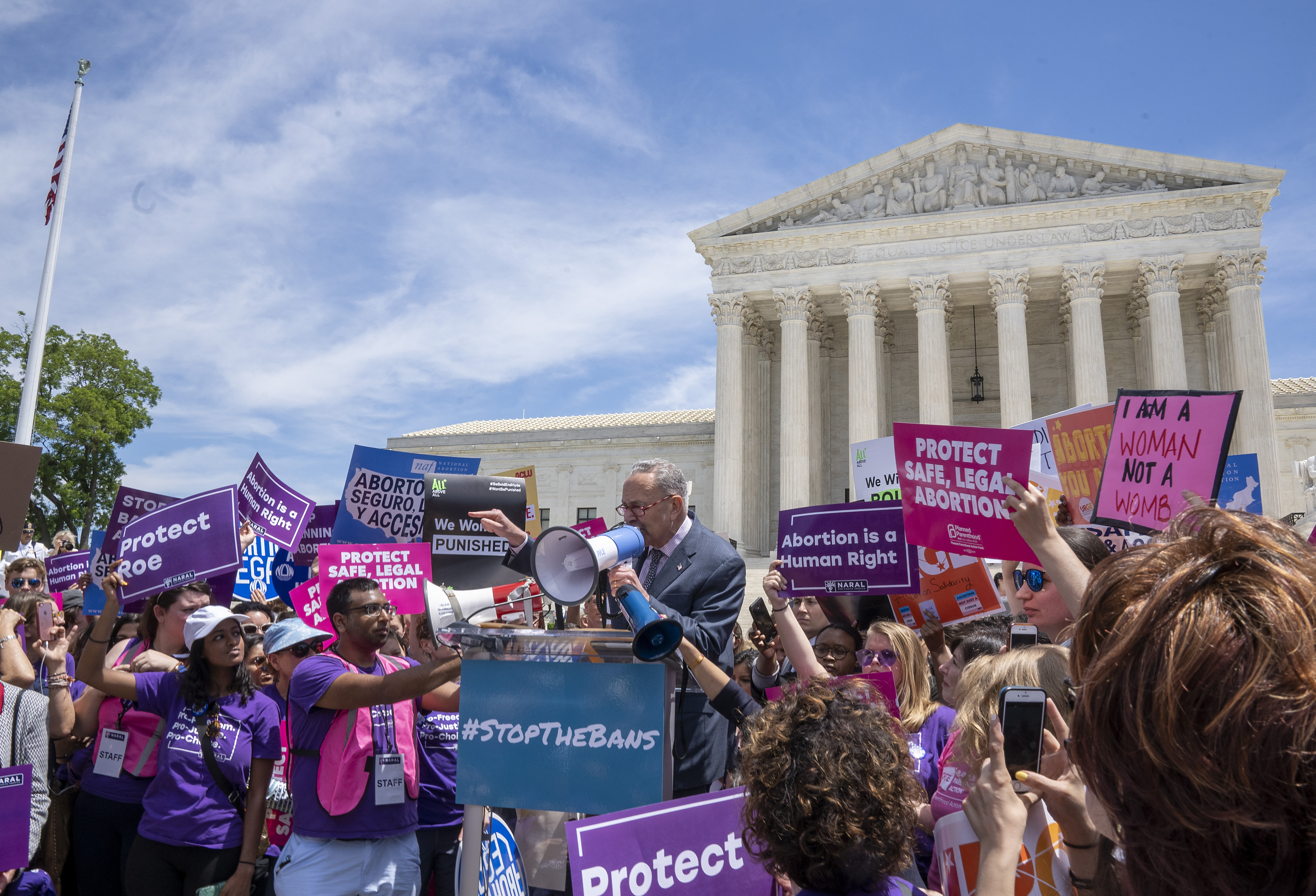 Senate Minority Leader Charles Schumer speaks at a pro-choice rally at the Supreme Court on May 21, 2019. (Tasos Katopodis/Getty Images)