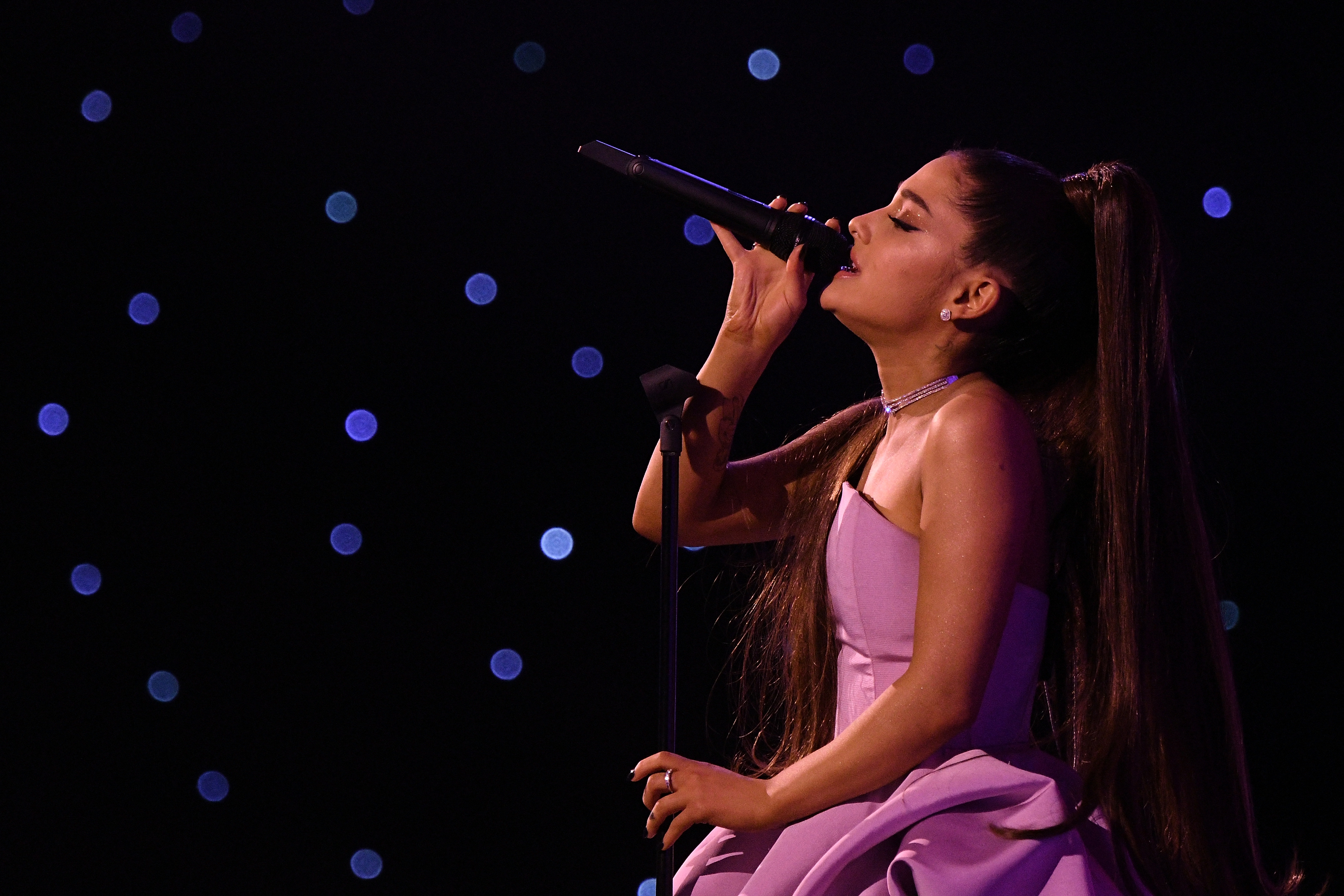 Ariana Grande preforms at Billboard Women In Music 2018 on December 6, 2018 in New York City. (Photo by Mike Coppola/Getty Images for Billboard )