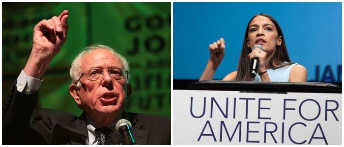 Bernie Sanders (Photo by Alex Wong:Getty Images), Alexandria Ocasio-Cortez (Photo by J Pat Carter for the Washington Post)