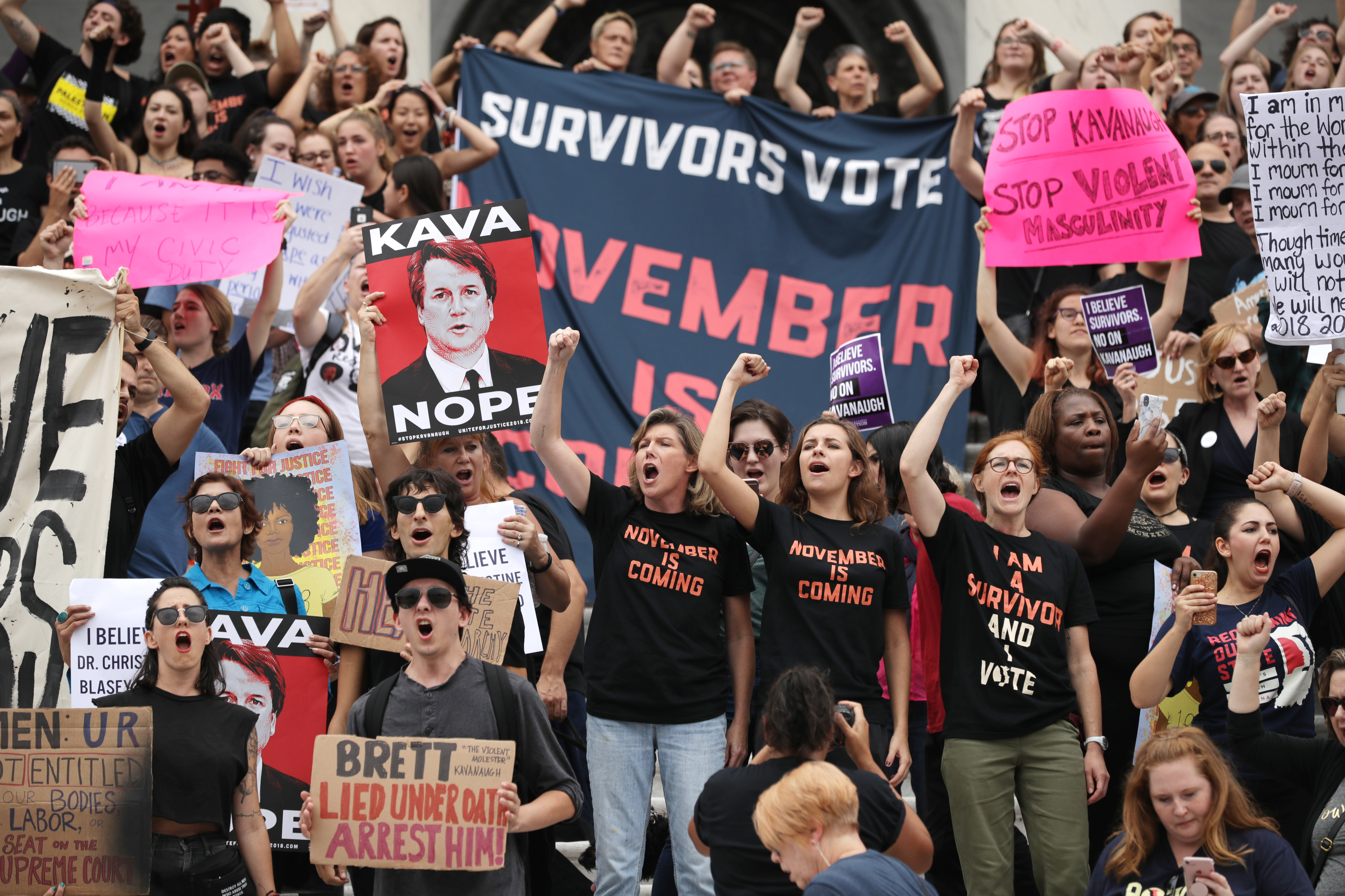 Hundreds of protesters occupy the east front of the U.S. Capitol to demonstrate against the confirmation of Justice Brett Kavanaugh on October 06, 2018. (Chip Somodevilla/Getty Images)