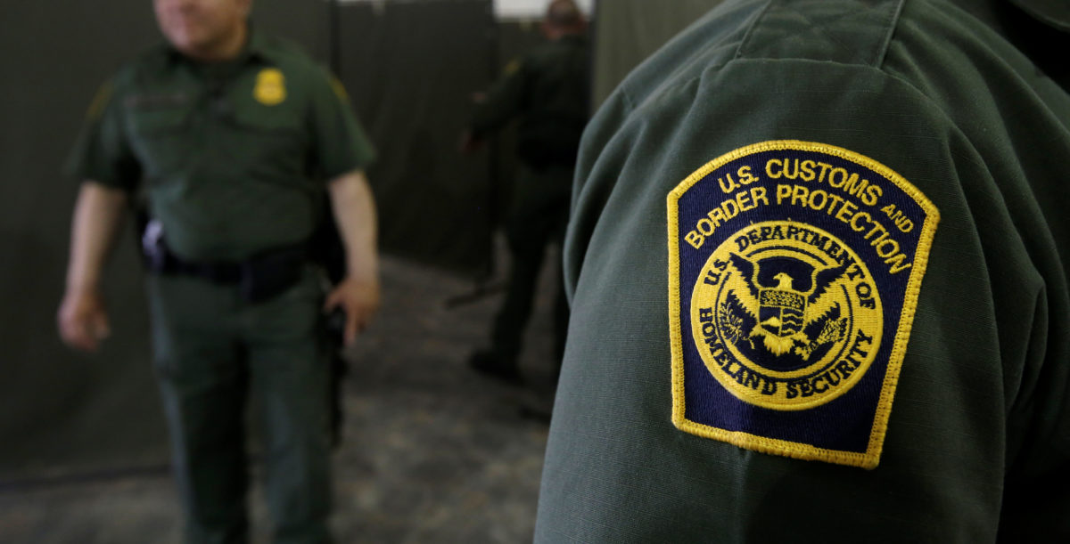 U.S. Border Patrol agents are seen during a tour of U.S. Customs and Border Protection (CBP) temporary holding facilities in El Paso