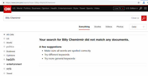 CNN search Billy Chemirmir