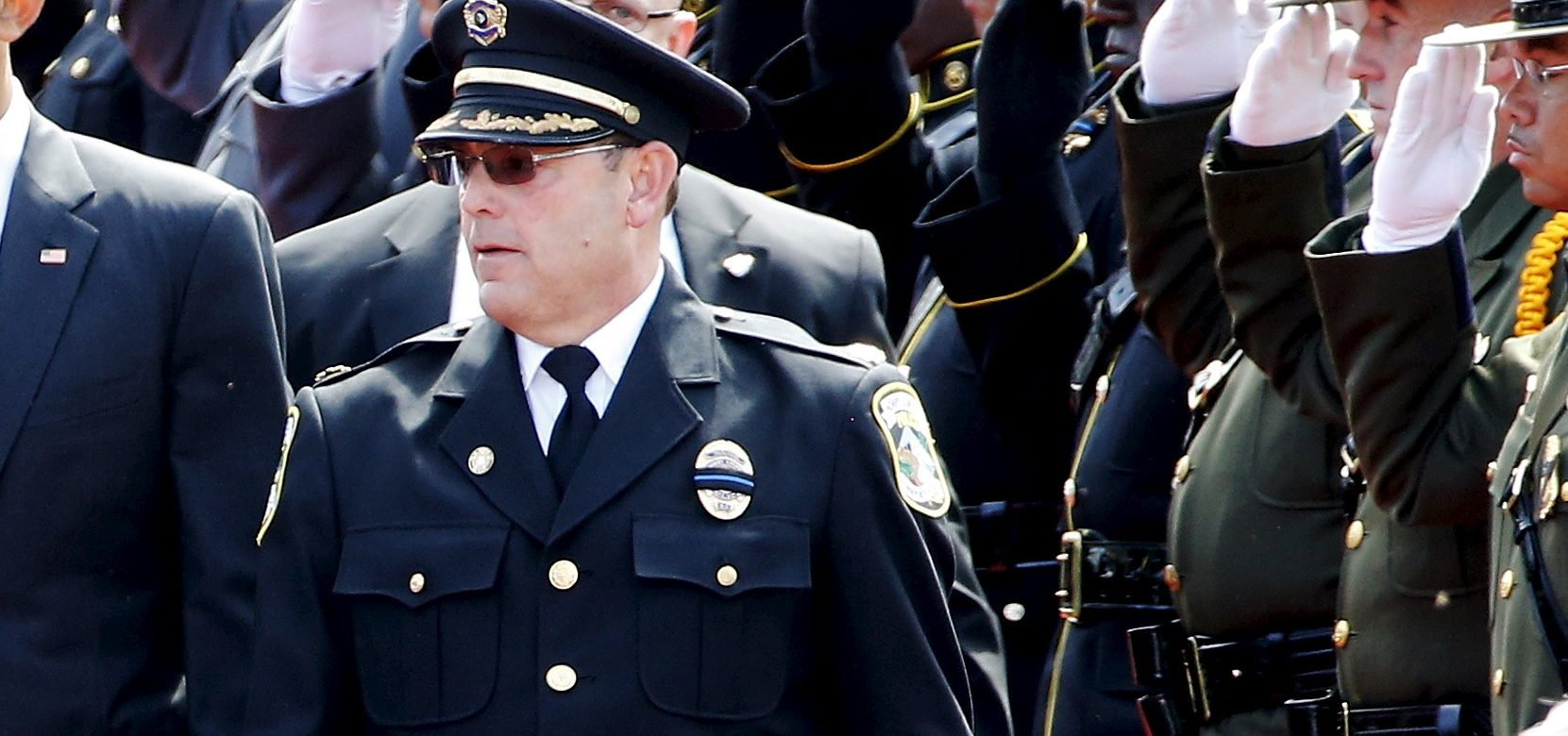 Fraternal Order of Police National President Chuck Canterbury (R) arrives at the National Peace Officers' Memorial Service at the U.S. Capitol in Washington May 15, 2015. REUTERS/Jonathan Ernst
