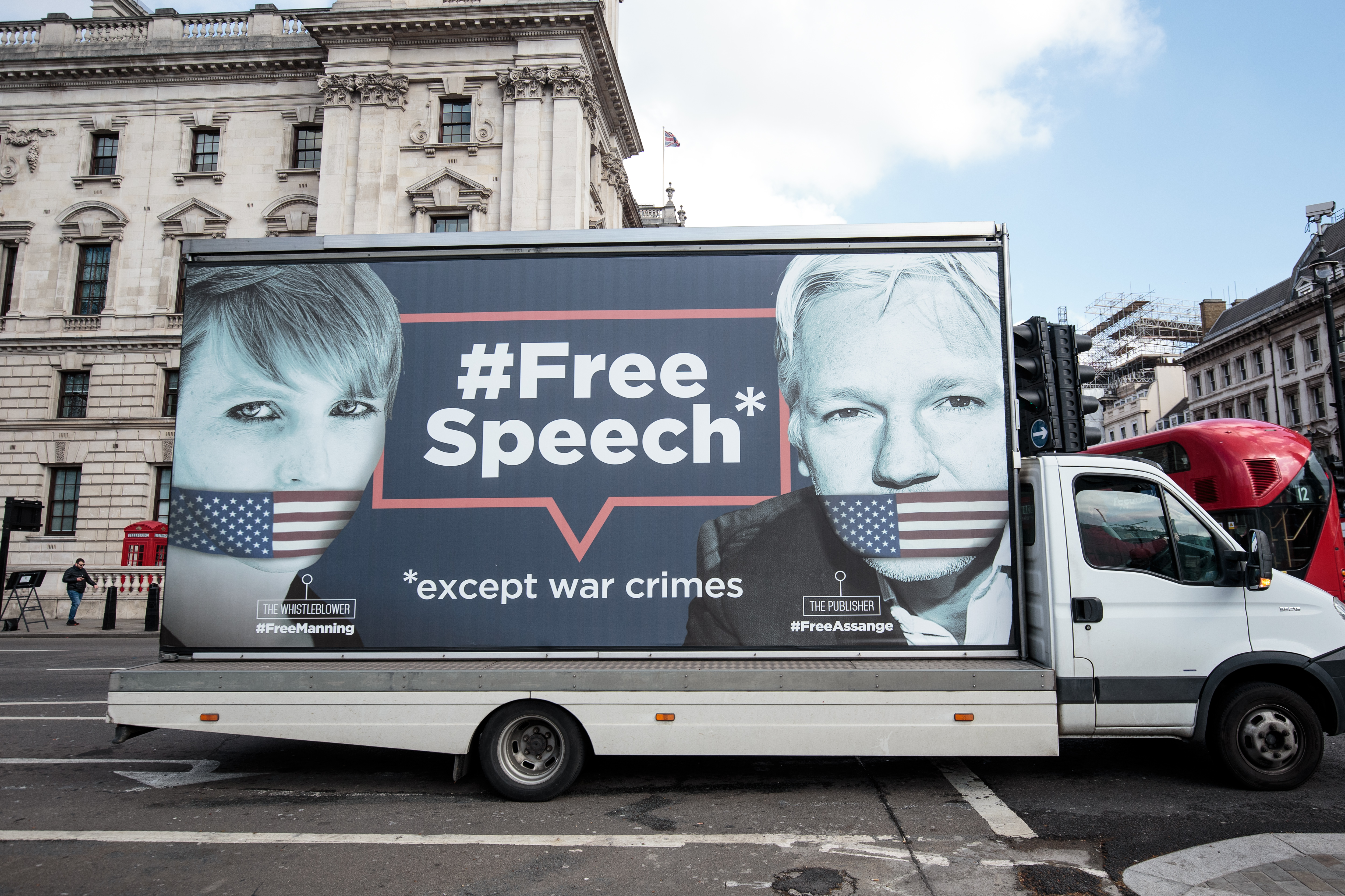 LONDON, ENGLAND - APRIL 03: A van with a billboard in support of American whistleblower Chelsea Manning and Wikileaks founder Julian Assange is driven around Westminster on April 3, 2019 in London, England. On Tuesday Ecuadorean President Lenin Moreno said Mr Assange 'repeatedly violated' the terms of his asylum in the Ecuadorian embassy in London, where he has lived for almost 7 years. (Photo by Jack Taylor/Getty Images)
