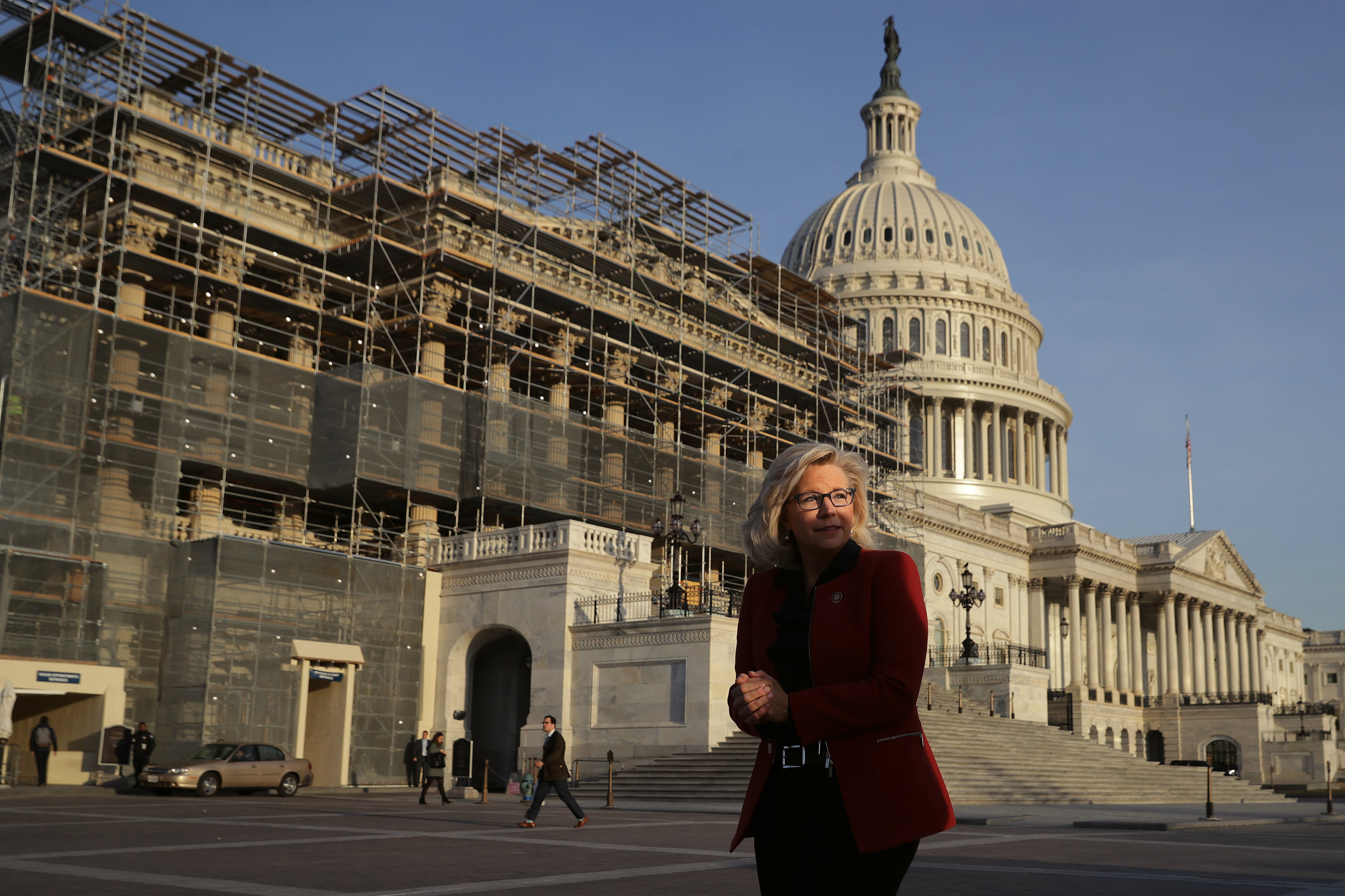 U.S. House Republican Conference Chair Liz Cheney prepares for a news conference with fellow Republicans and anti-abortion activists outside the U.S. Capitol. (Chip Somodevilla/Getty Images)