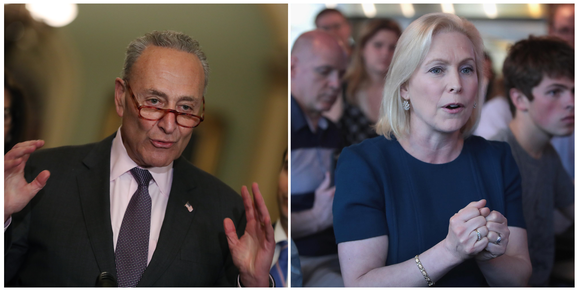 Senate Minority Leader Chuck Schumer and Senator Kirsten Gillibrand. (Getty Images)