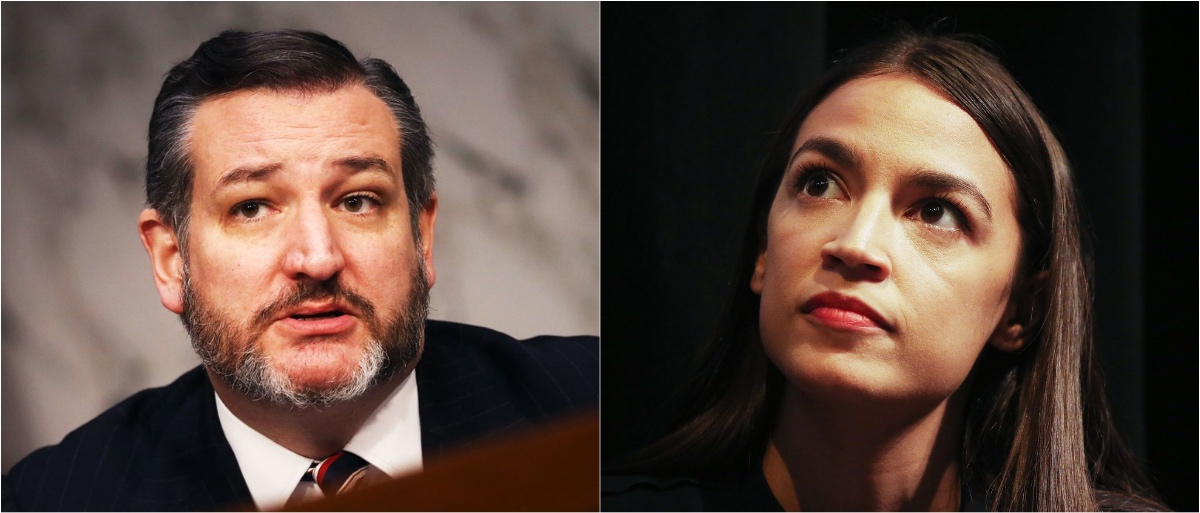 Texas Sen. Ted Cruz (Getty Images) and New York Rep. Alexandria Ocasio-Cortez (Getty Images)