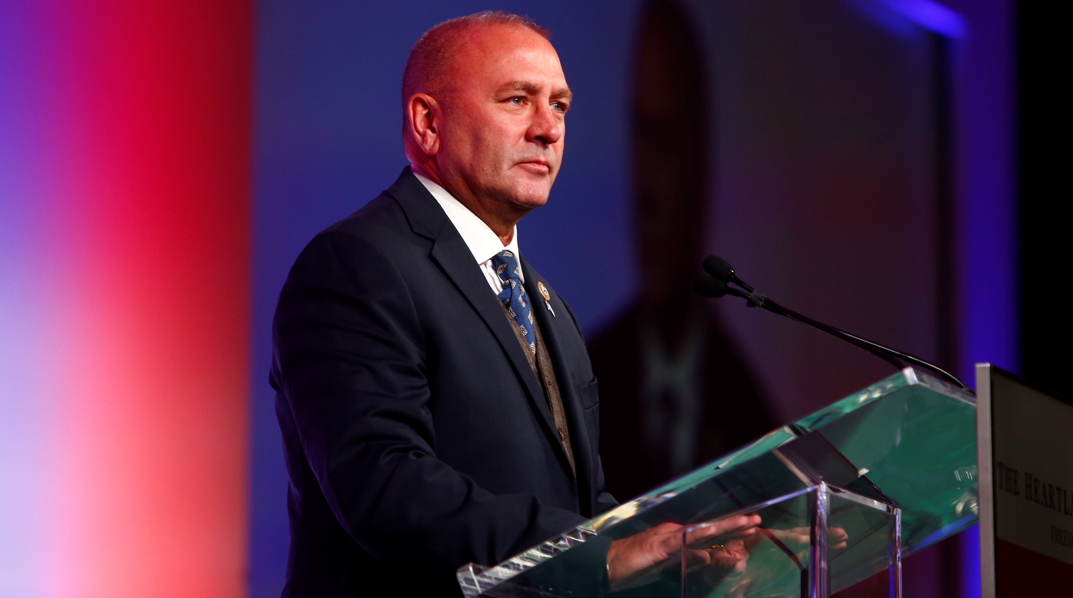 United States Representative Clay Higgins, 3rd District, Louisiana, speaks during the America First Energy Conference 2018 in New Orleans, Louisiana, U.S., August 7, 2018. Picture taken August 7, 2018. REUTERS/Edmund D. Fountain