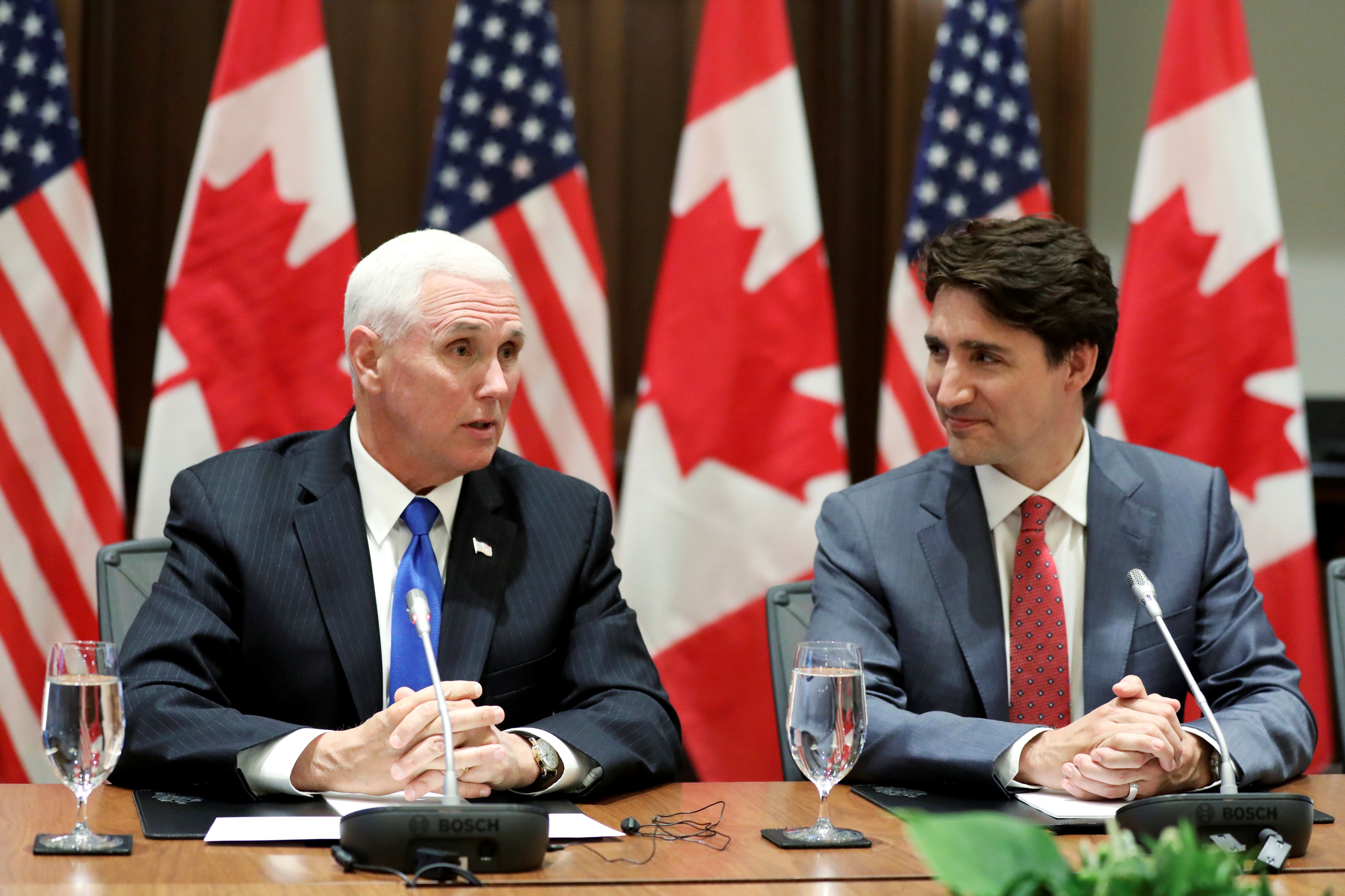 Canada's Prime Minister Justin Trudeau and U.S. Vice President Mike Pence shake hands during a welcoming ceremony on Parliament Hill in Ottawa, Ontario, Canada, May 30, 2019. REUTERS/Chris Wattie