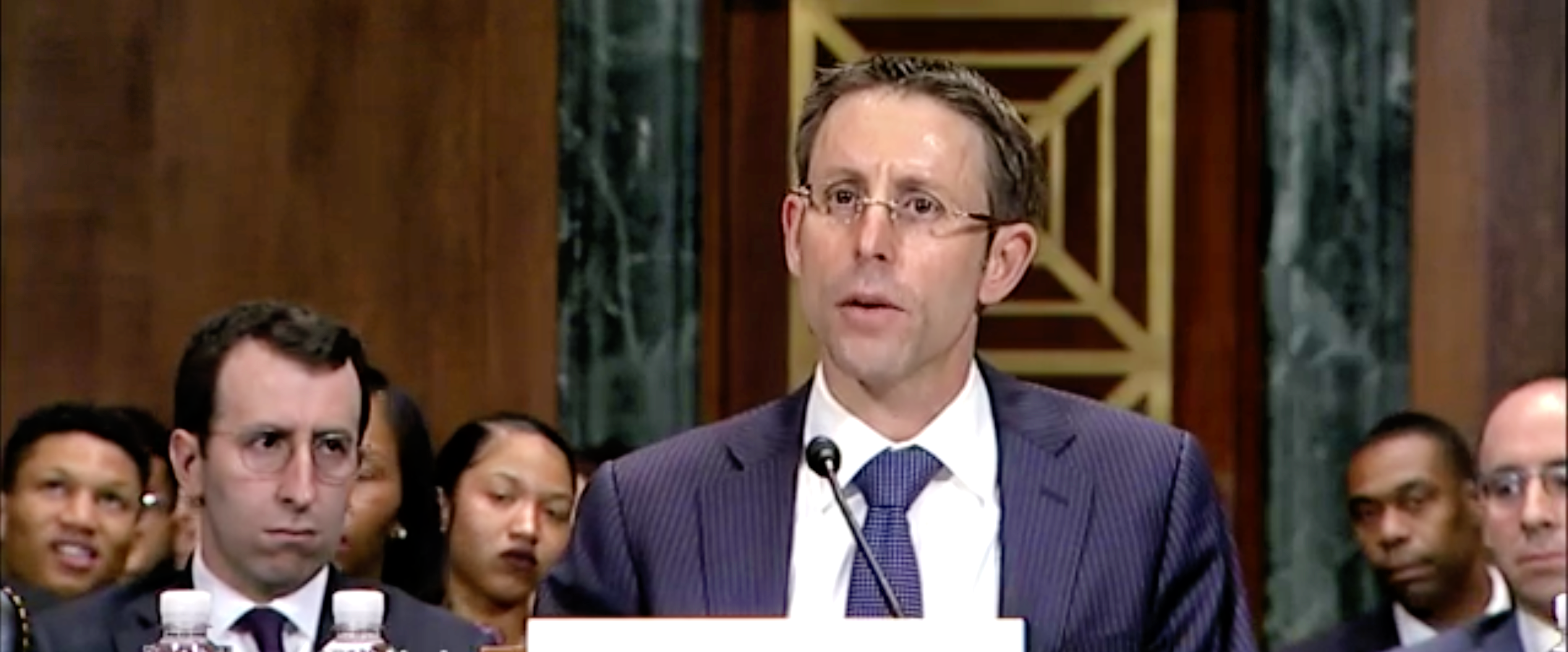 Daniel Bress, a nominee for the 9th U.S. Circuit Court of Appeals, appears before the Senate Judiciary Committee on May 22, 2019. (Screenshot/Senate Judiciary Committee)