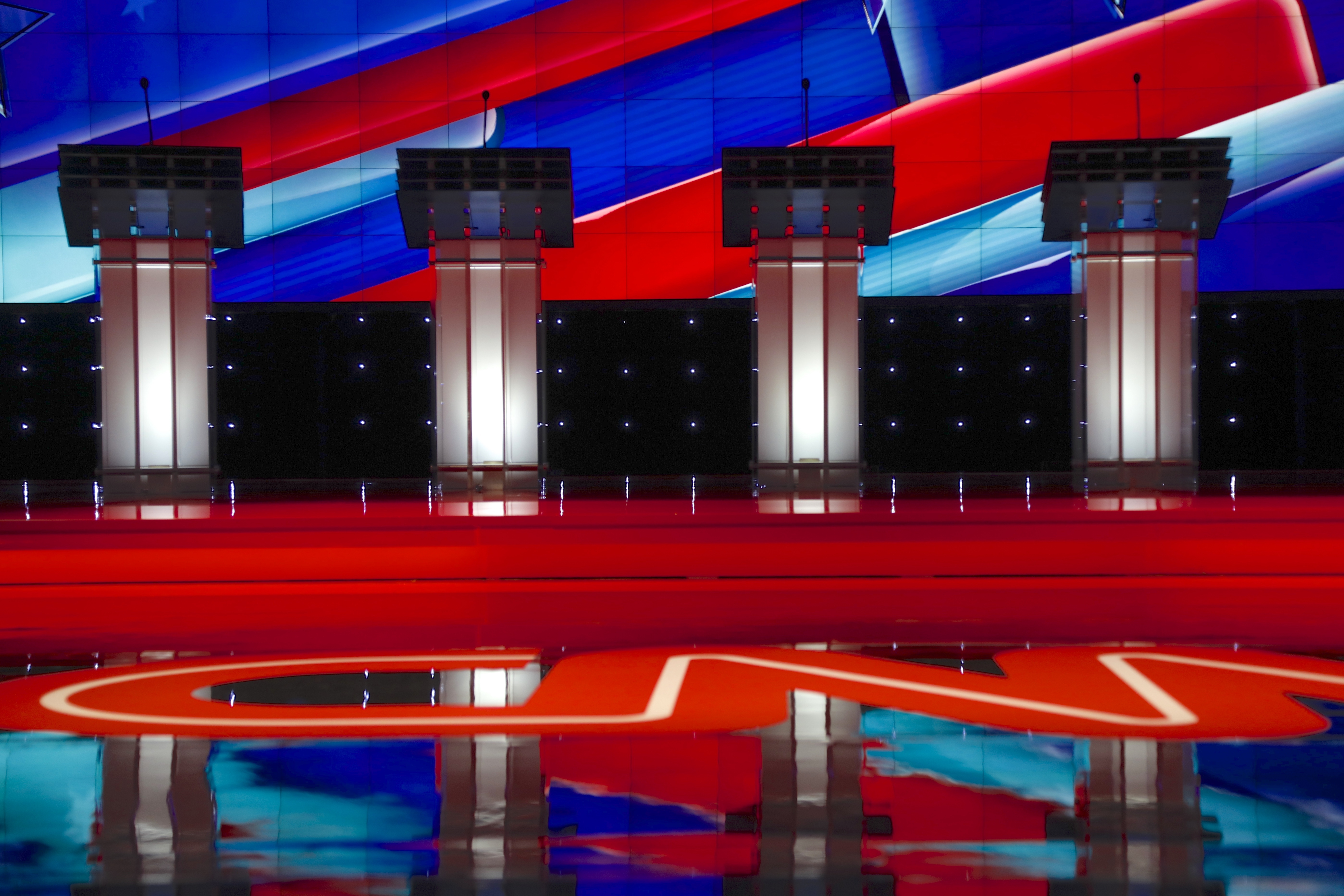 LAS VEGAS, NV, Dec 15, 2015, Empty Podiums at the CNN Republican presidential debate at The Venetian Resort and Casino (Shutterstock)