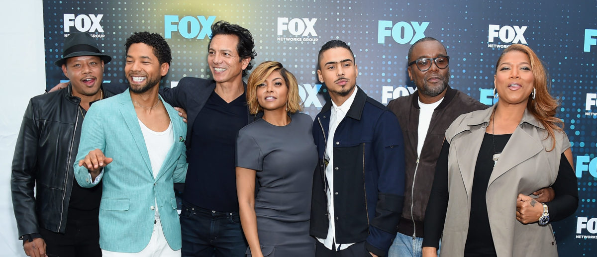 Terrence Howard, Jussie Smollet, Taraji P. Henson, Quincy Brown, Lee Daniels and Queen Latifah attend the 2017 FOX Upfront at Wollman Rink, Central Park on May 15, 2017 in New York City. (Photo by Michael Loccisano/Getty Images)