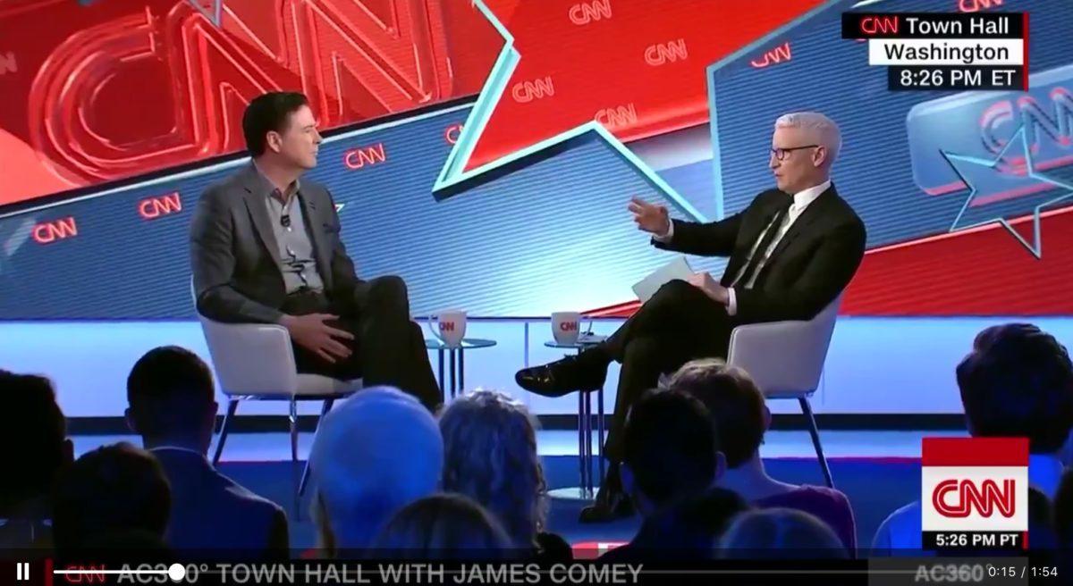 Former FBI Director James Comey defends the discredited Steele dossier at a CNN town hall segment, May 9, 2019. CNN screenshot via Twitter.
