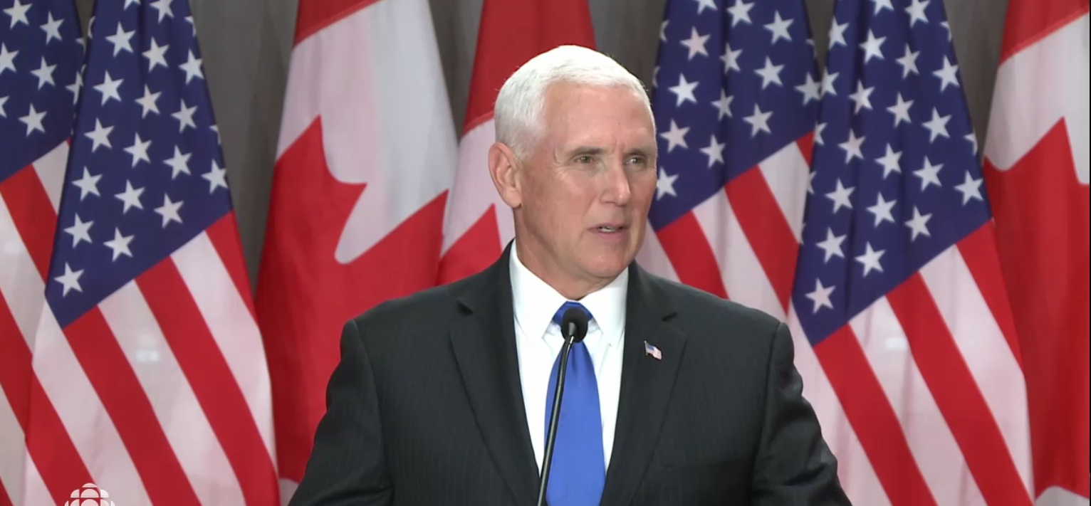 Vice President Mike Pence addresses a news conference in Ottawa, Canada, May 30, 2019. CBC News screenshot.